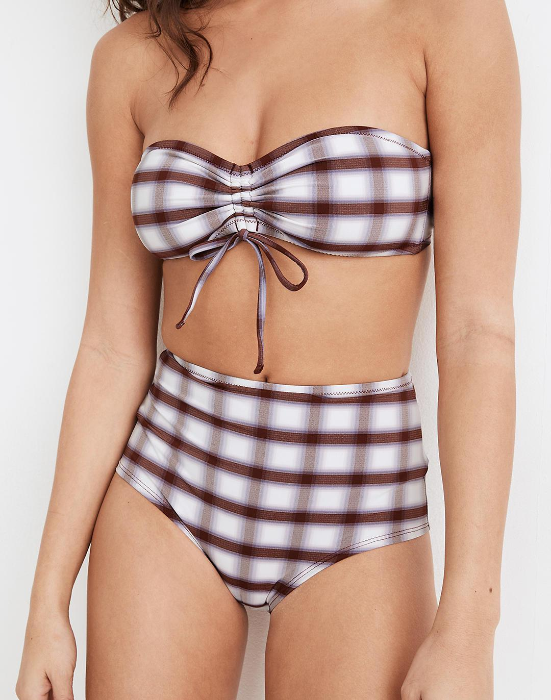 Madewell Second Wave Cinched Bandeau Bikini Top in Peralta Plaid 1