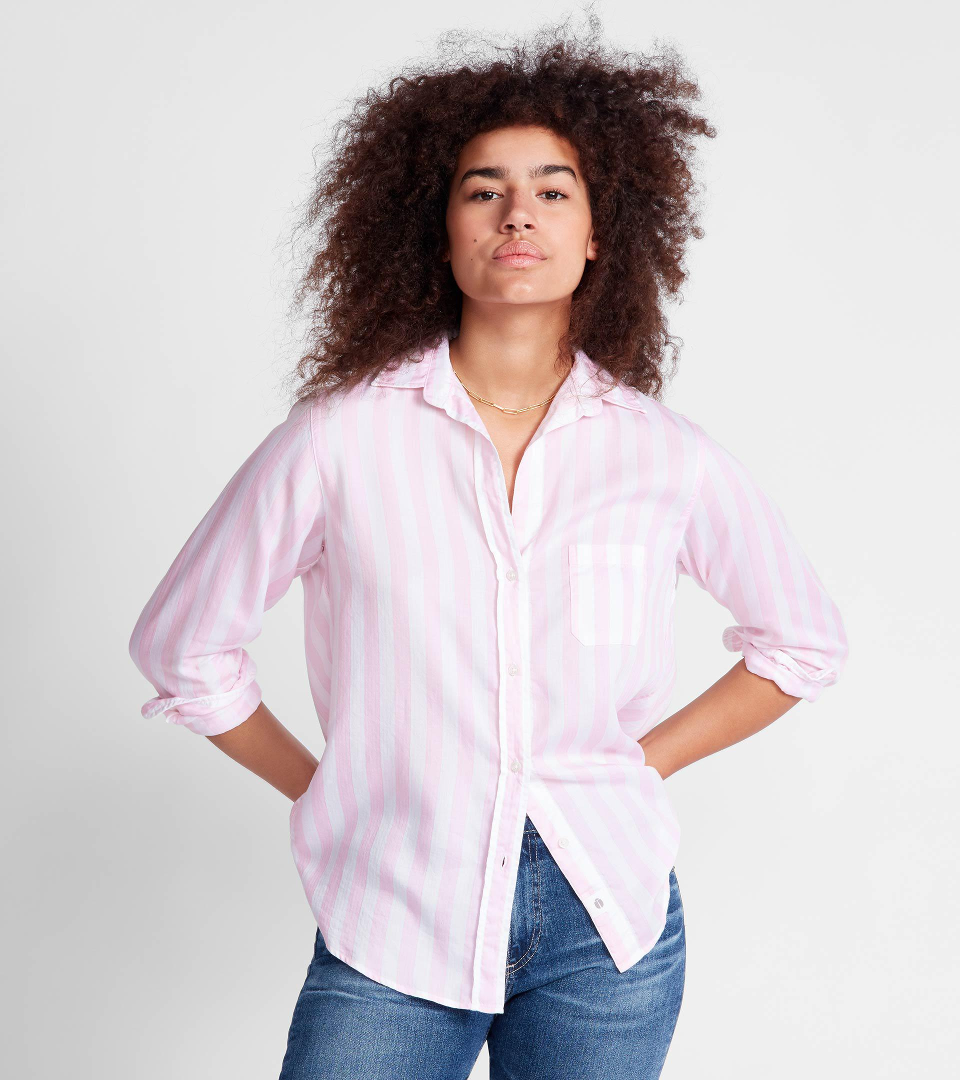 The Hero Pink and White Stripe, Liquid Lyocell Final Sale