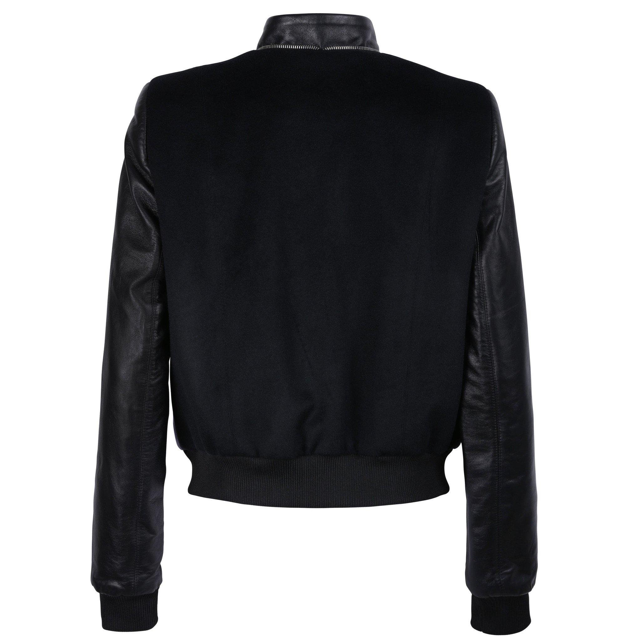 Black and Purple Leather Bomber Jacket with Silver Print Motif 3