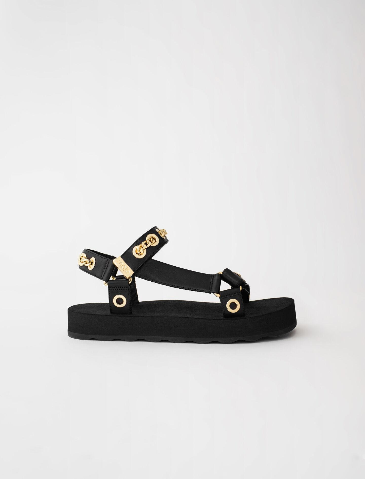 LEATHER SANDALS WITH EYELETS AND CHAIN