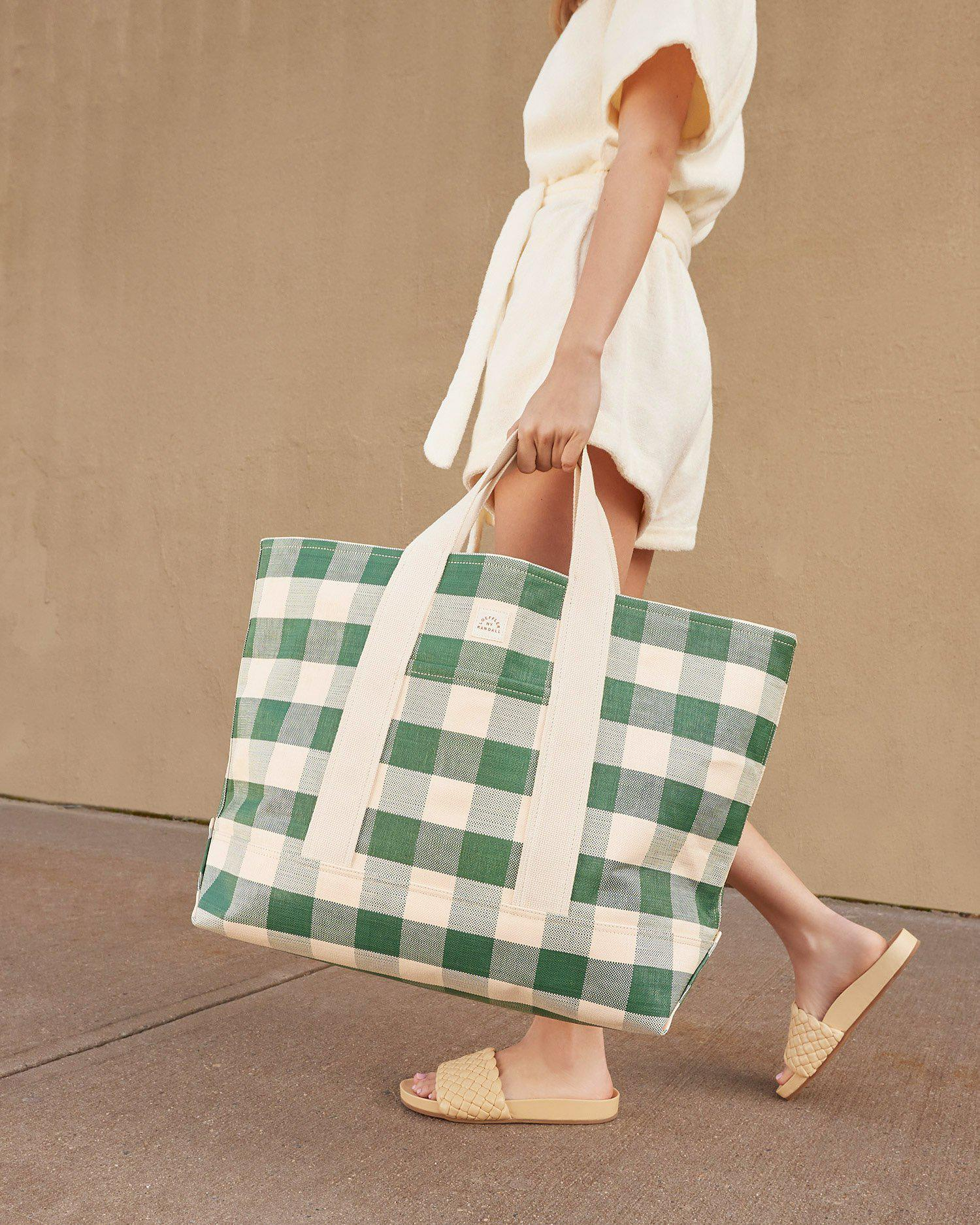 Bodie Gingham Oversized Open Tote 4