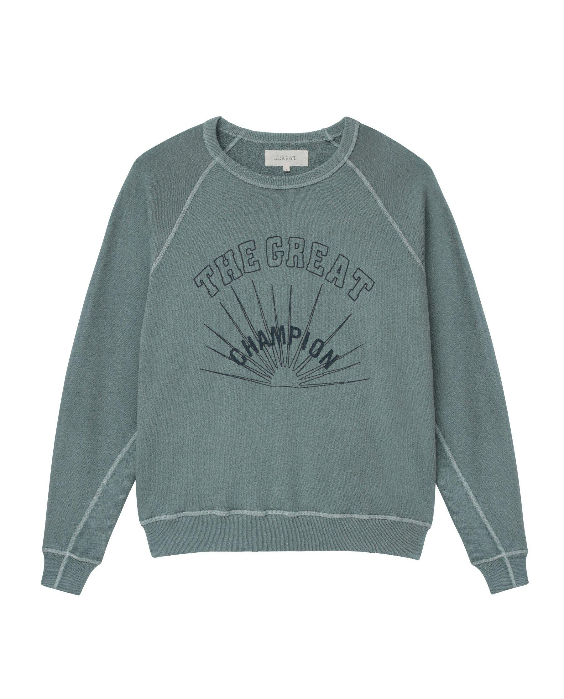 The College Sweatshirt. Graphic -- Dusty Blue with Champion Graphic 3