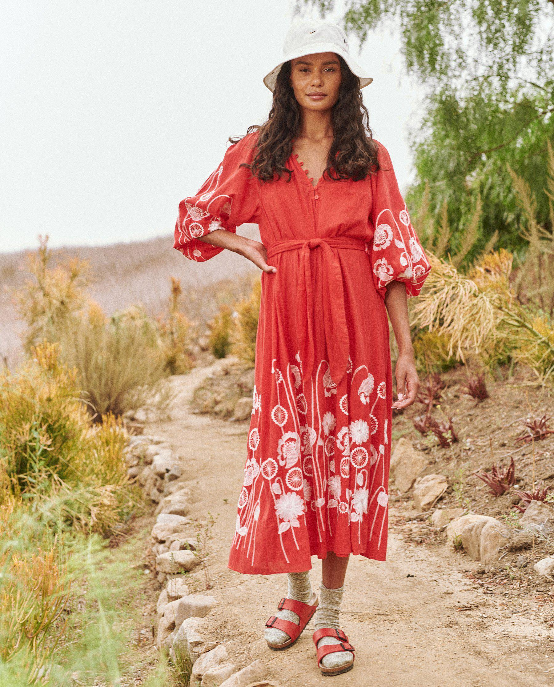 The Derby Dress. -- Cherry Red with Trellis Floral Embroidery 1