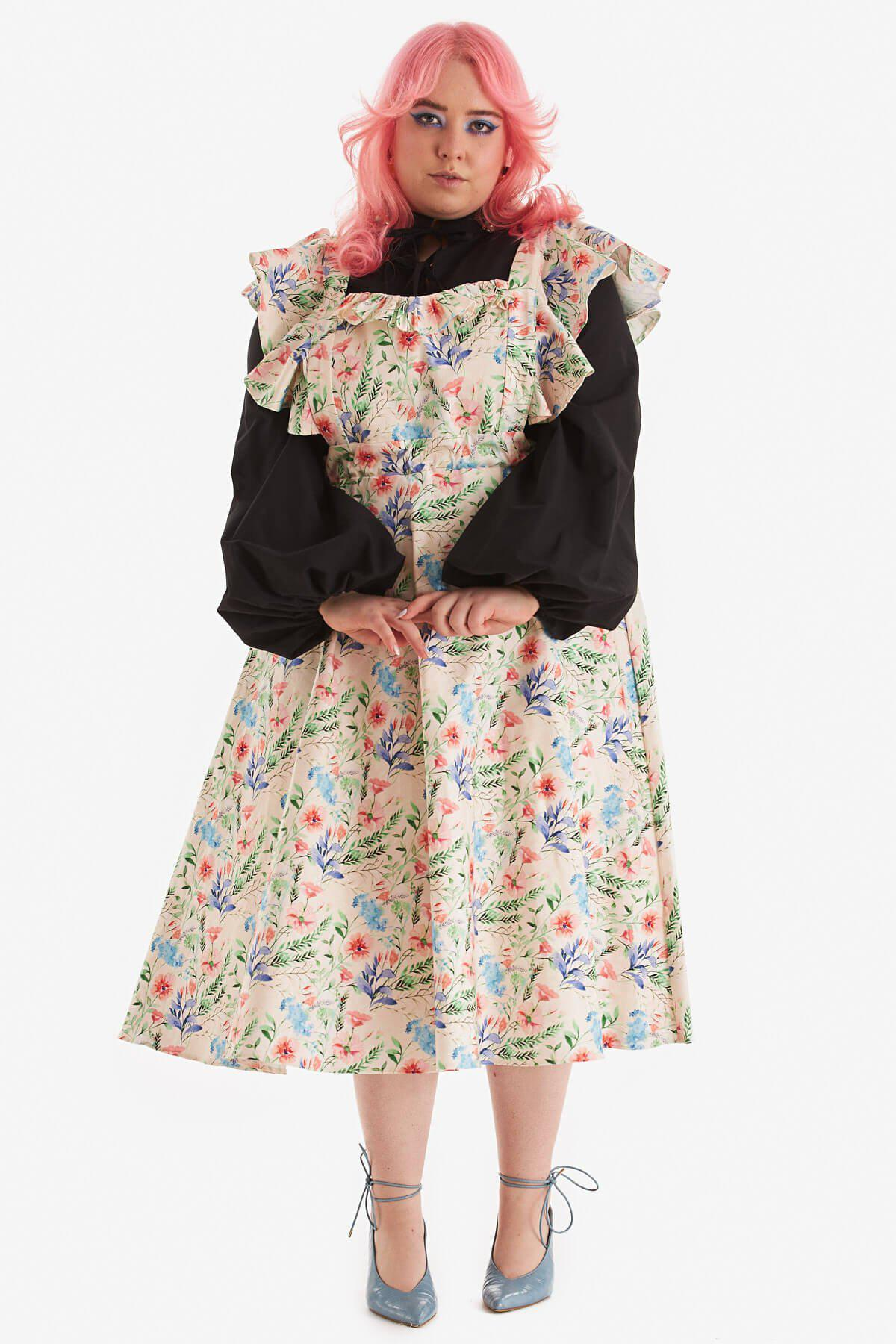 """""""Sojourner"""" Pinafore Floral Organic Cotton"""