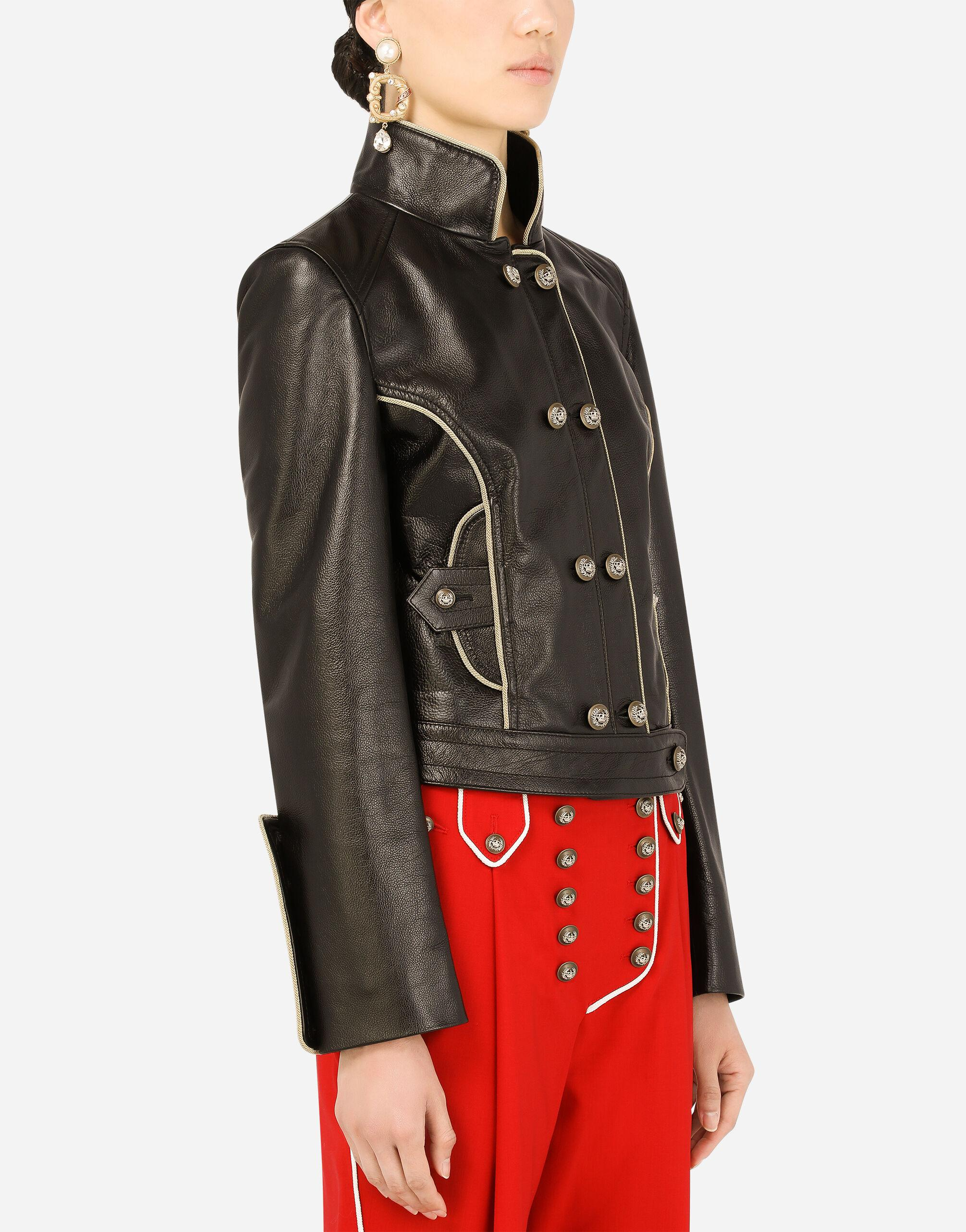 Leather biker jacket with heraldic buttons 2
