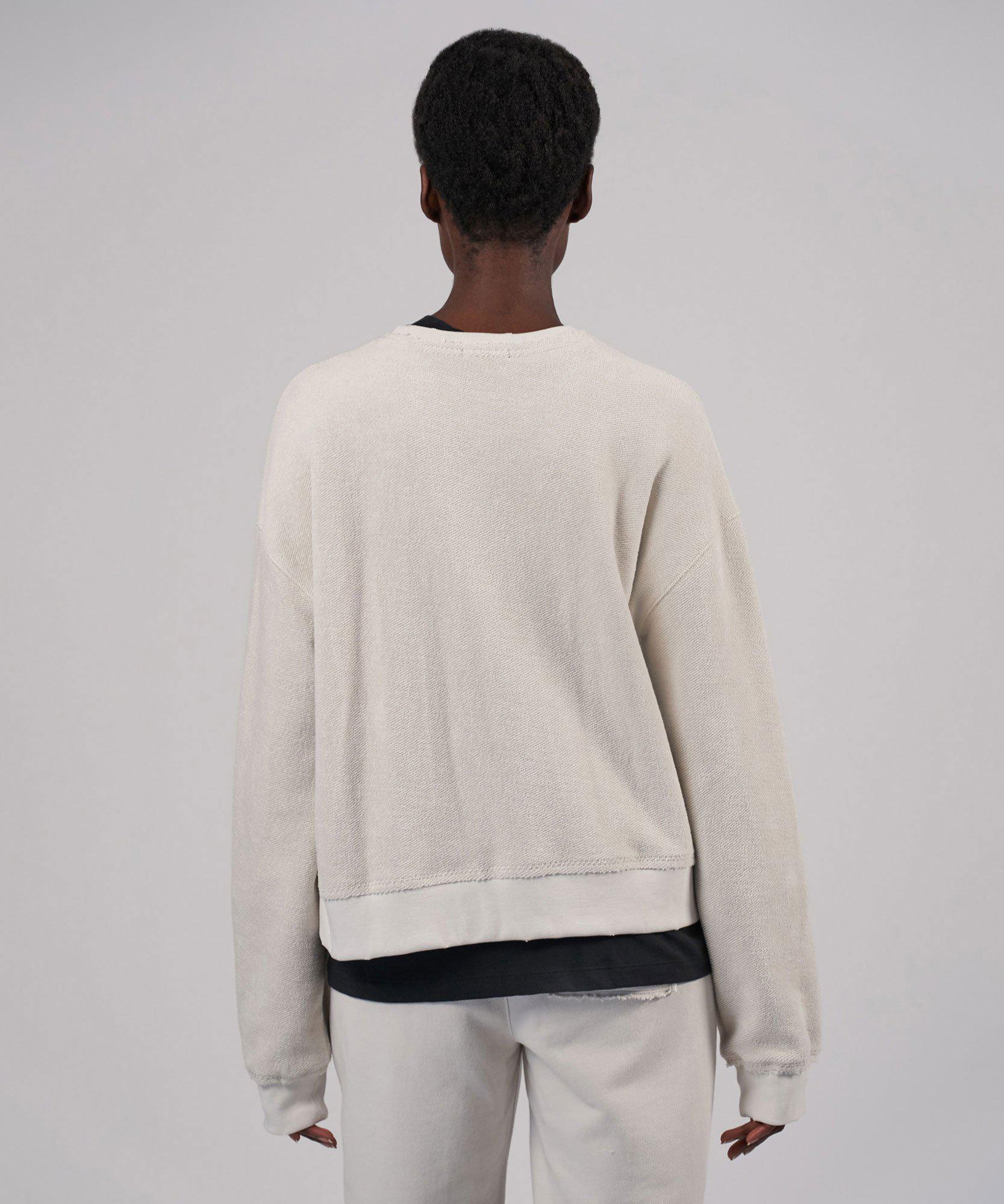 French Terry Destroyed Wash Long Sleeve Sweatshirt - Gesso 2
