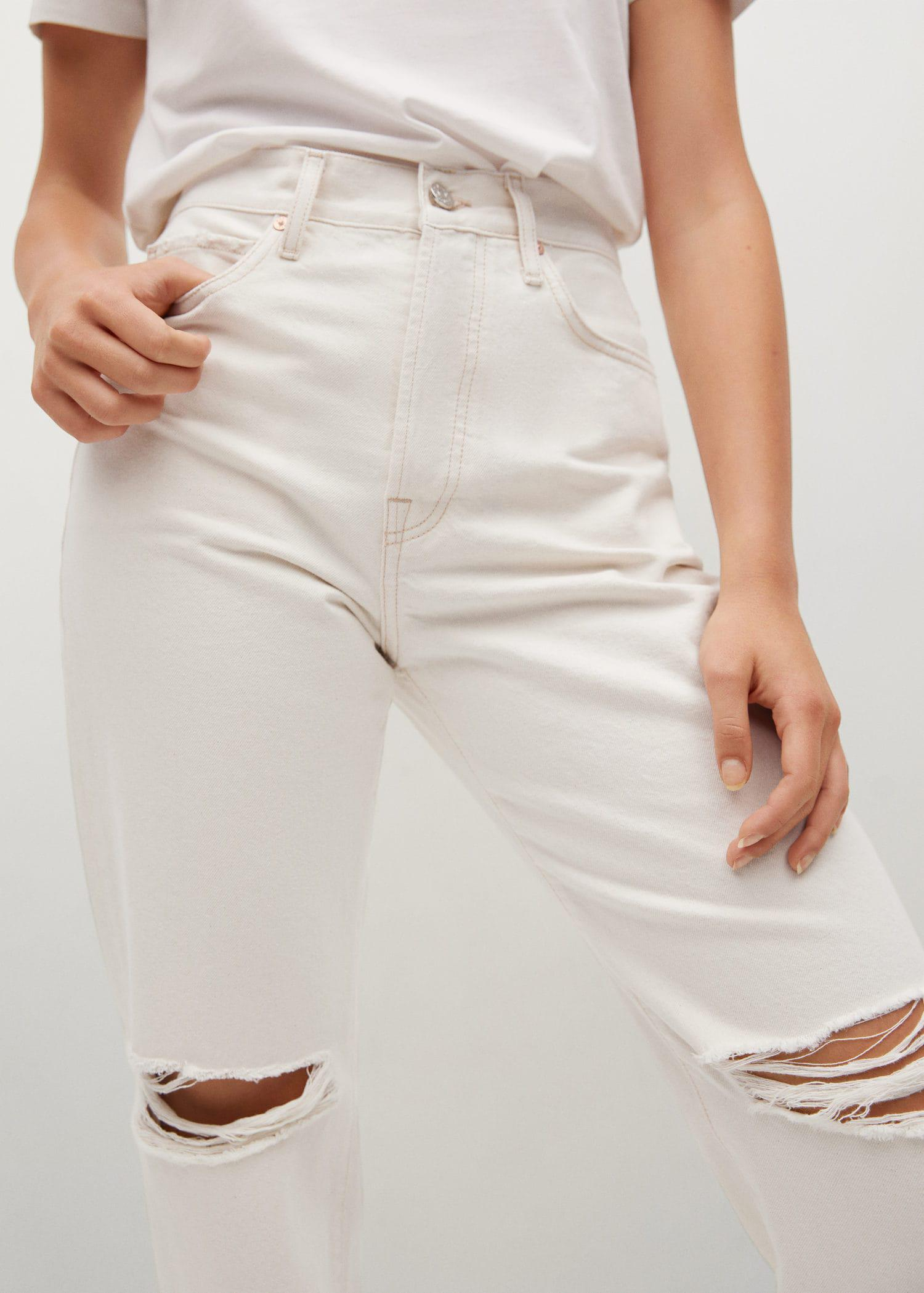 Decorative rips relaxed jeans 6