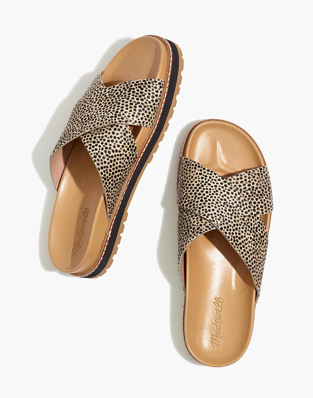 The Dayna Lugsole Slide Sandal in Spotted Calf Hair