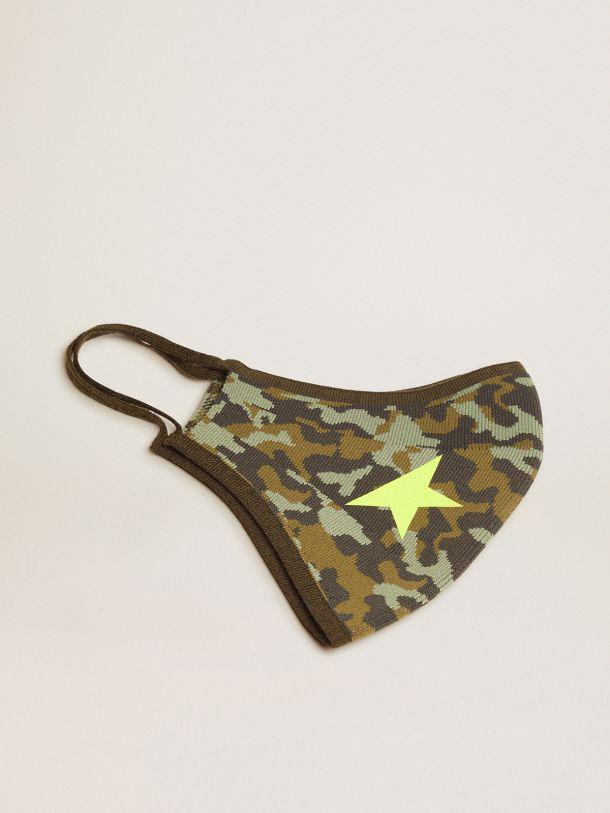 Camouflage Golden face mask with fluorescent yellow star