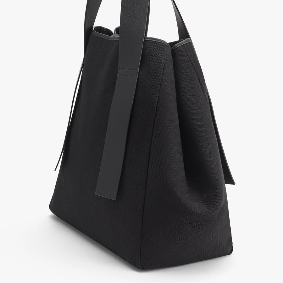Women's Canvas Tote Bag in Black   Canvas & Smooth Leather by Cuyana 2