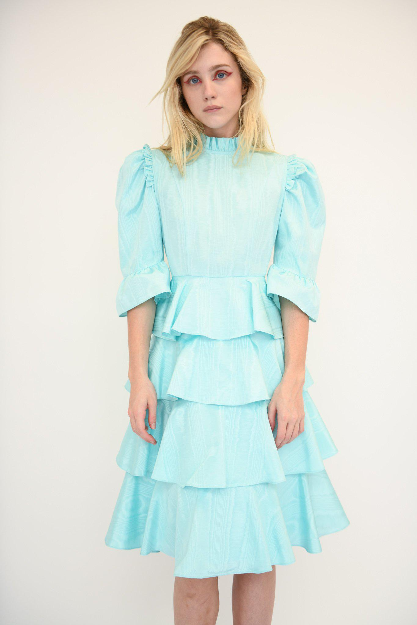 Spring Confection Dress in Aqua Moire 1