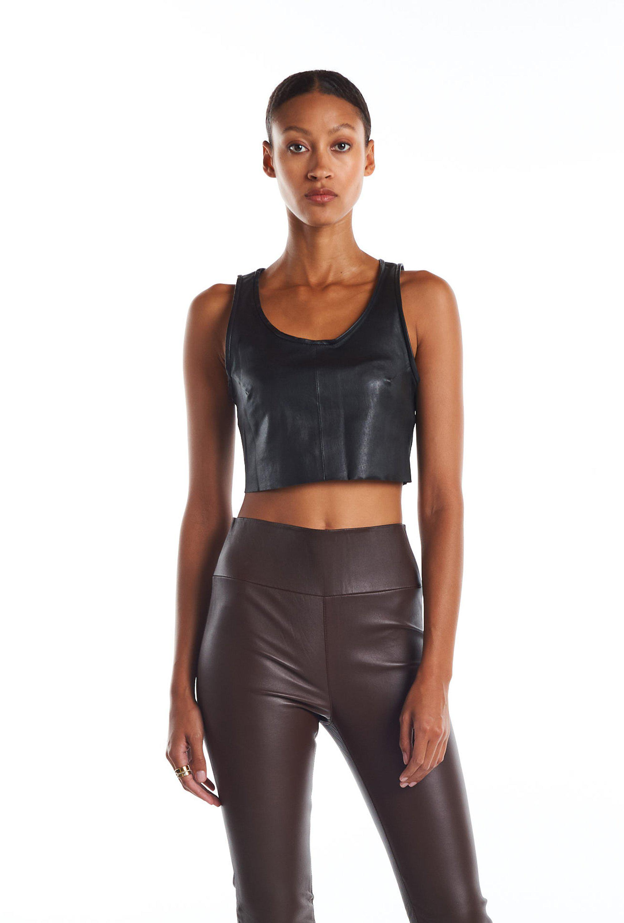 Black Leather Cropped Tank