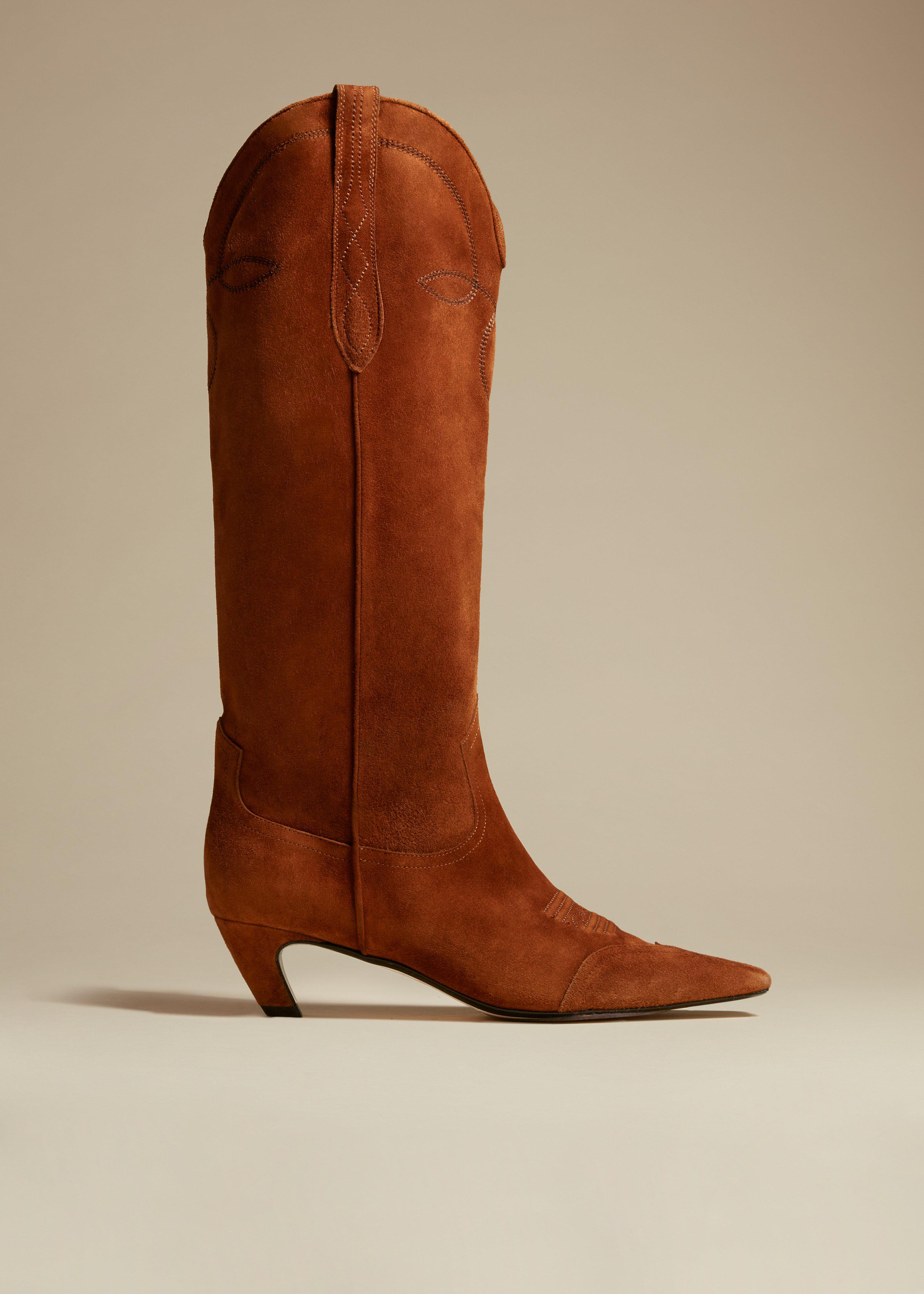The Dallas Knee High Boot in Caramel Suede