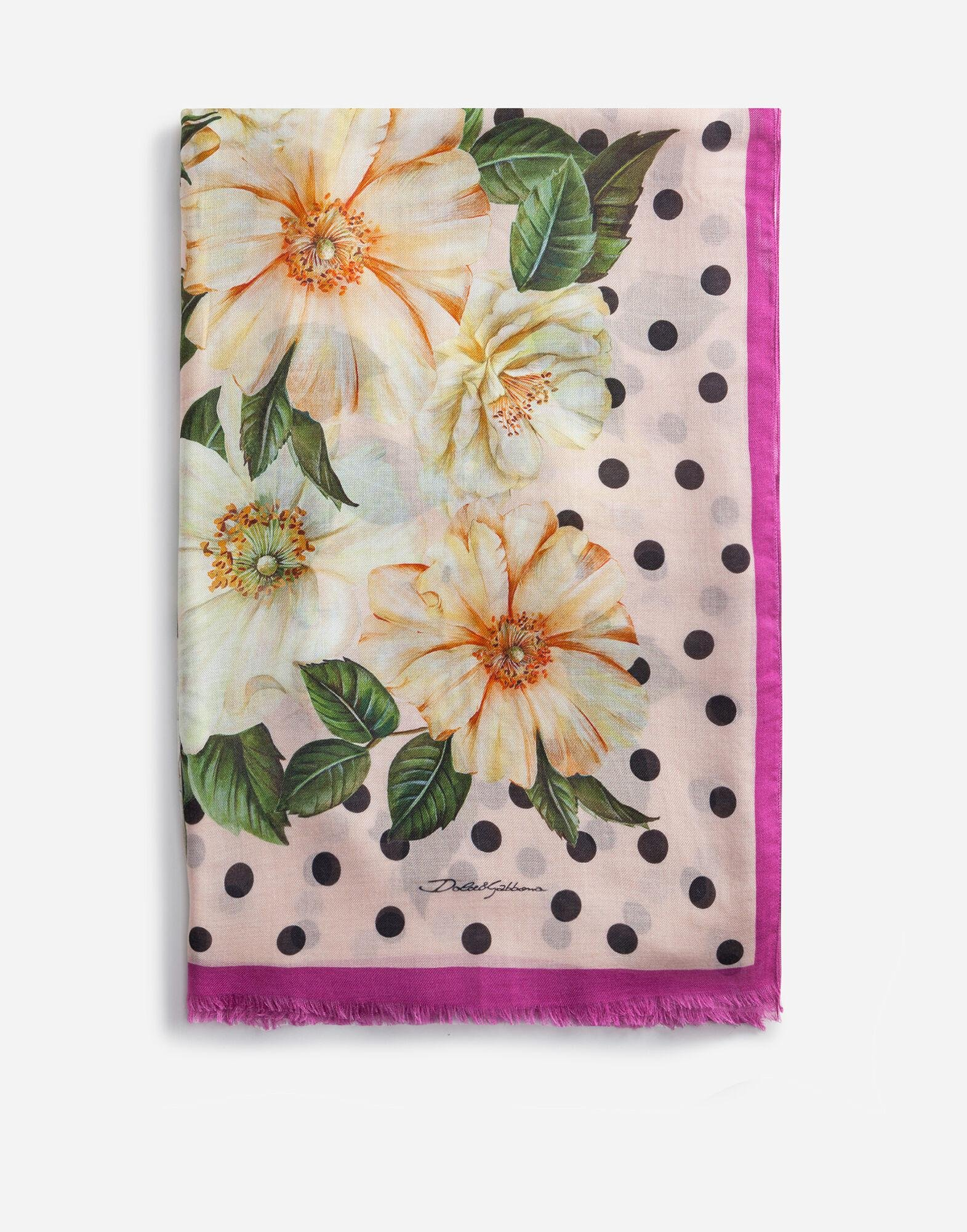 Camellia-print cashmere and modal scarf (135 x 200)
