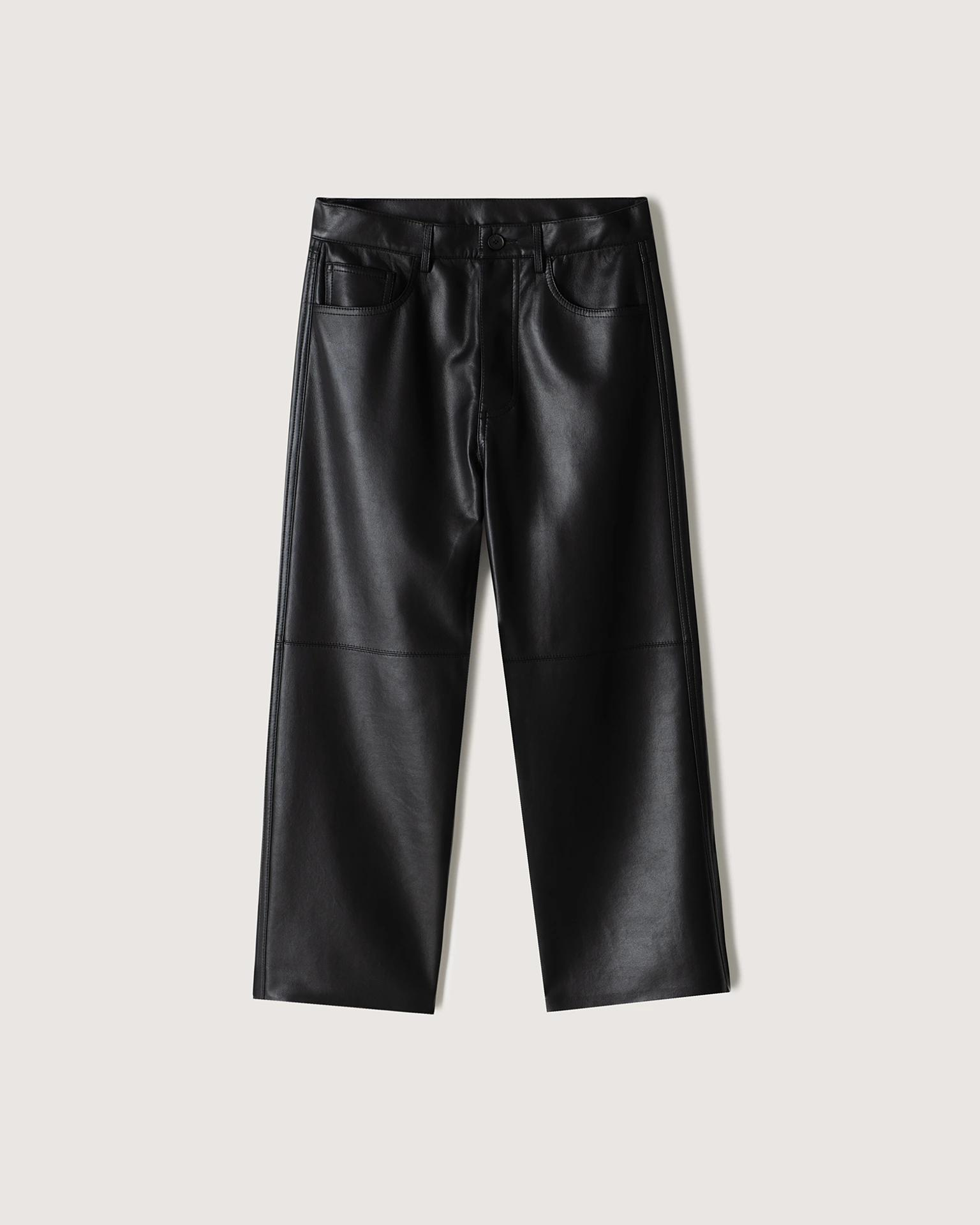 NOR - Regenerated leather pants - Black