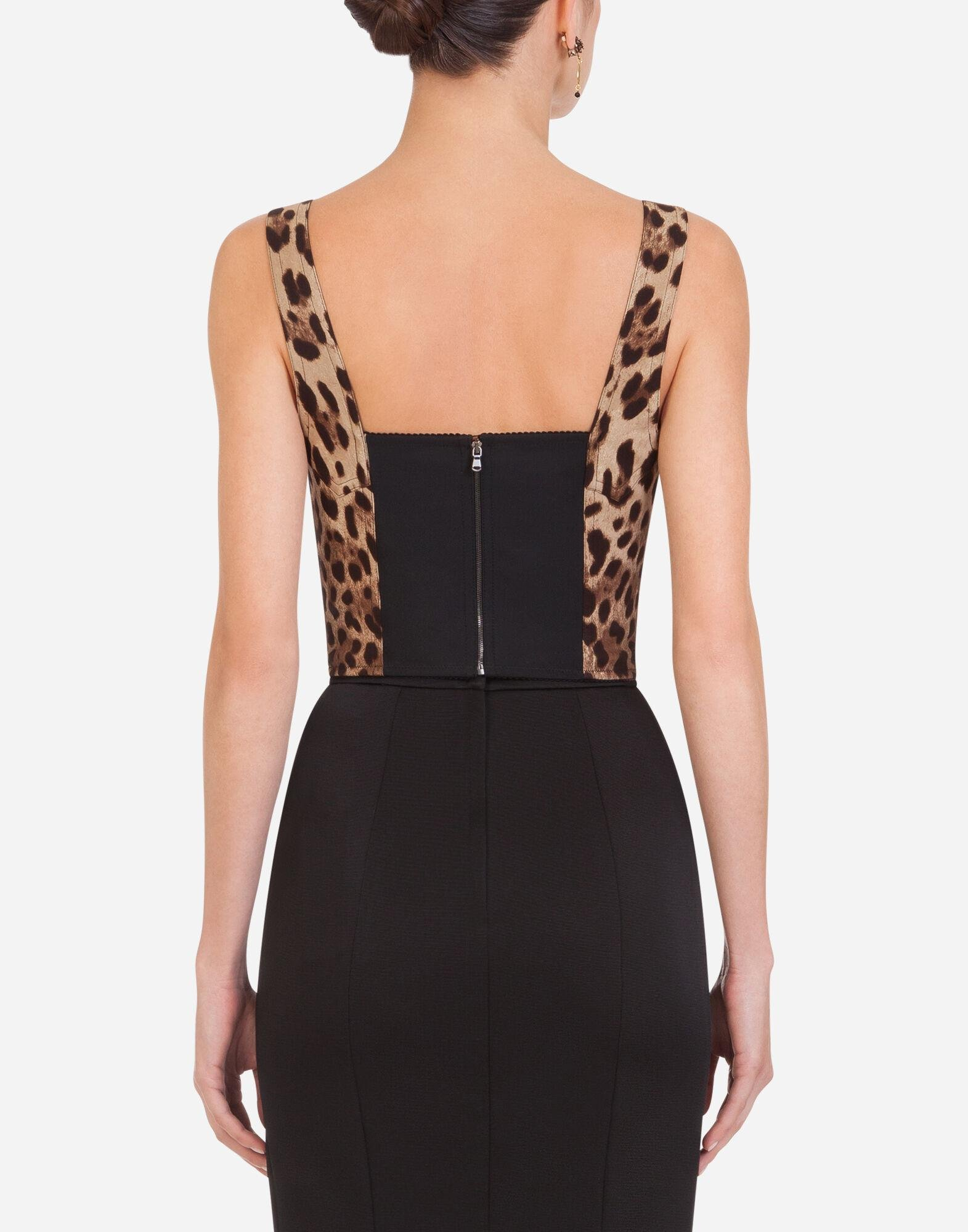 Leopard-print charmeuse bustier top 1