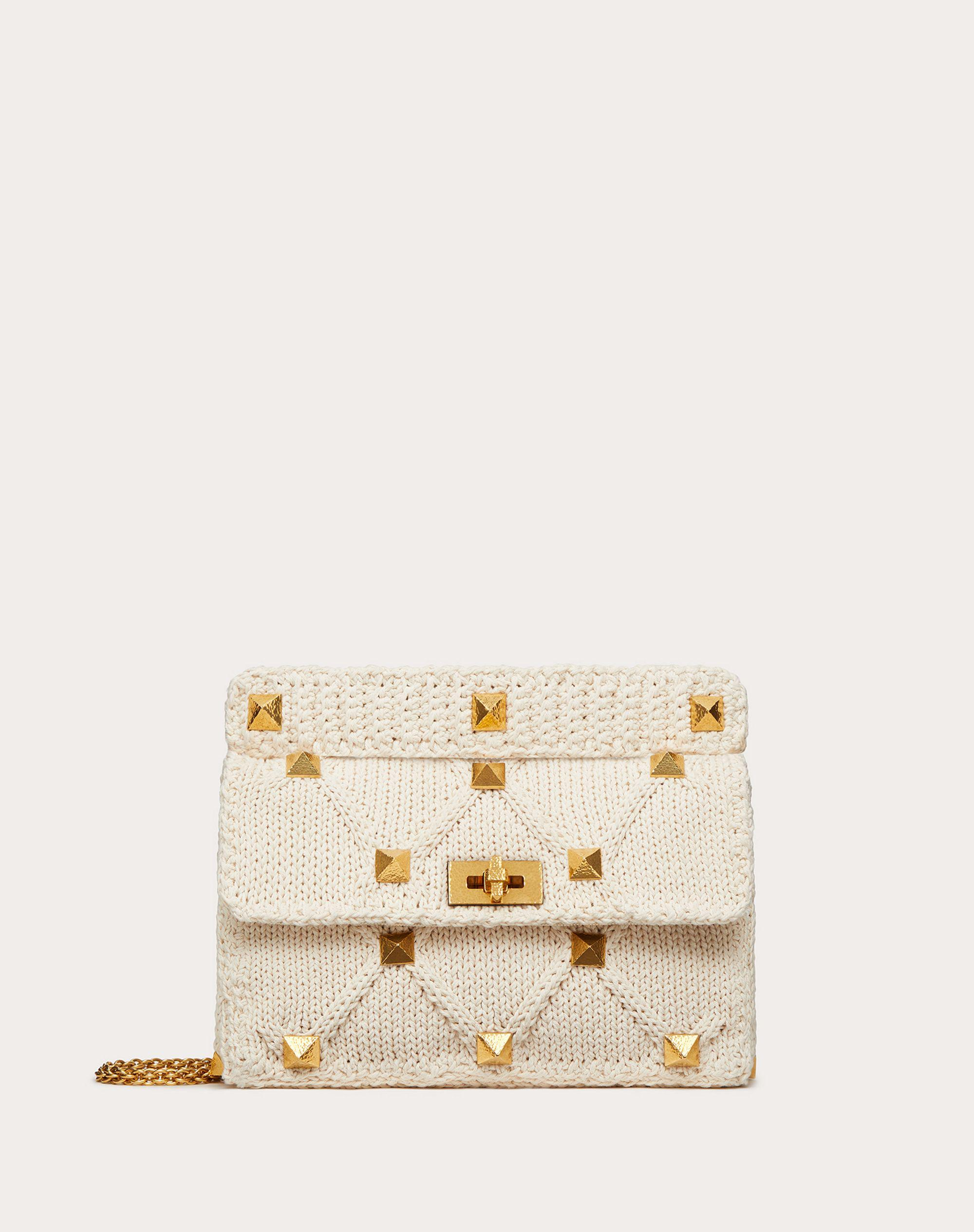Large Roman Stud Knitted Bag with Chain