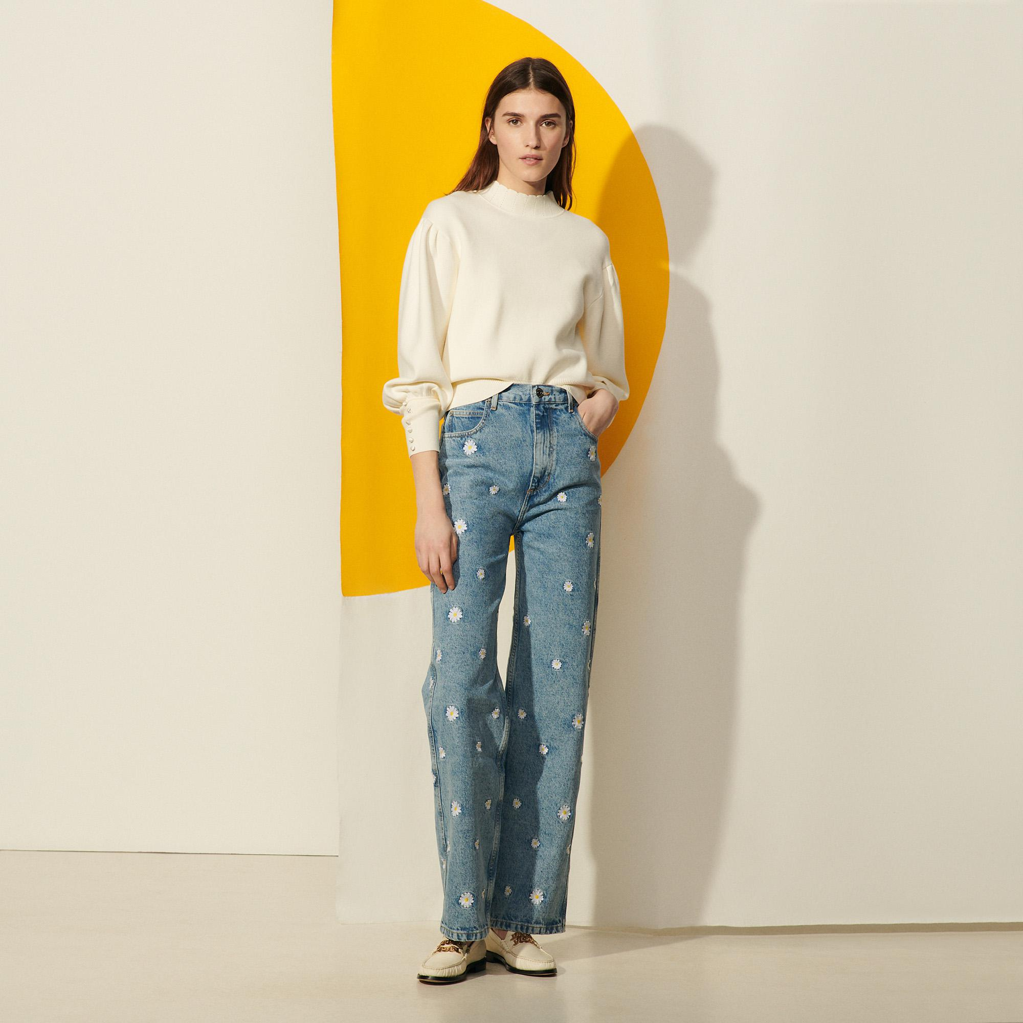 Organic cotton jeans with embroidery