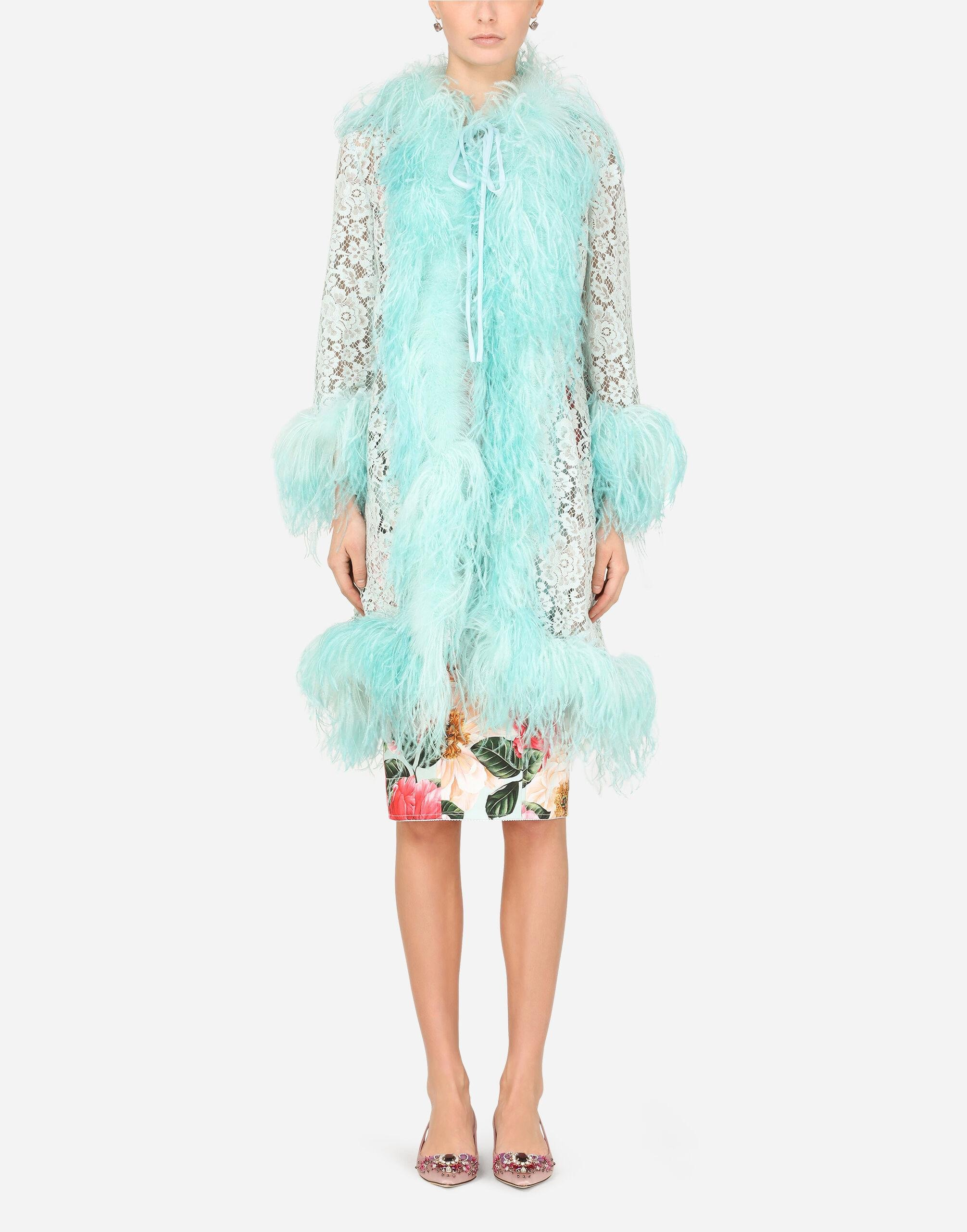 Lace coat with marabou trim