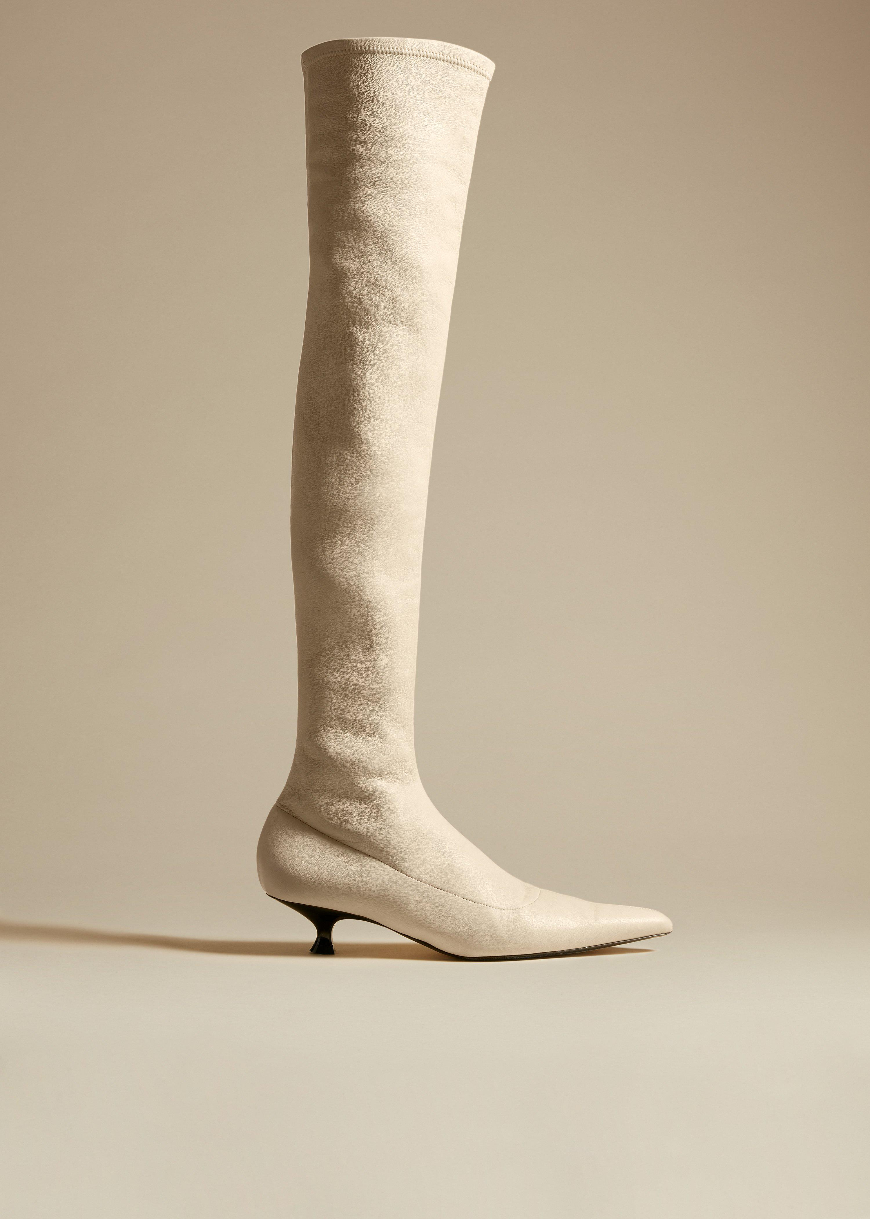 The Volos Over-the-Knee Boot in Cream Leather