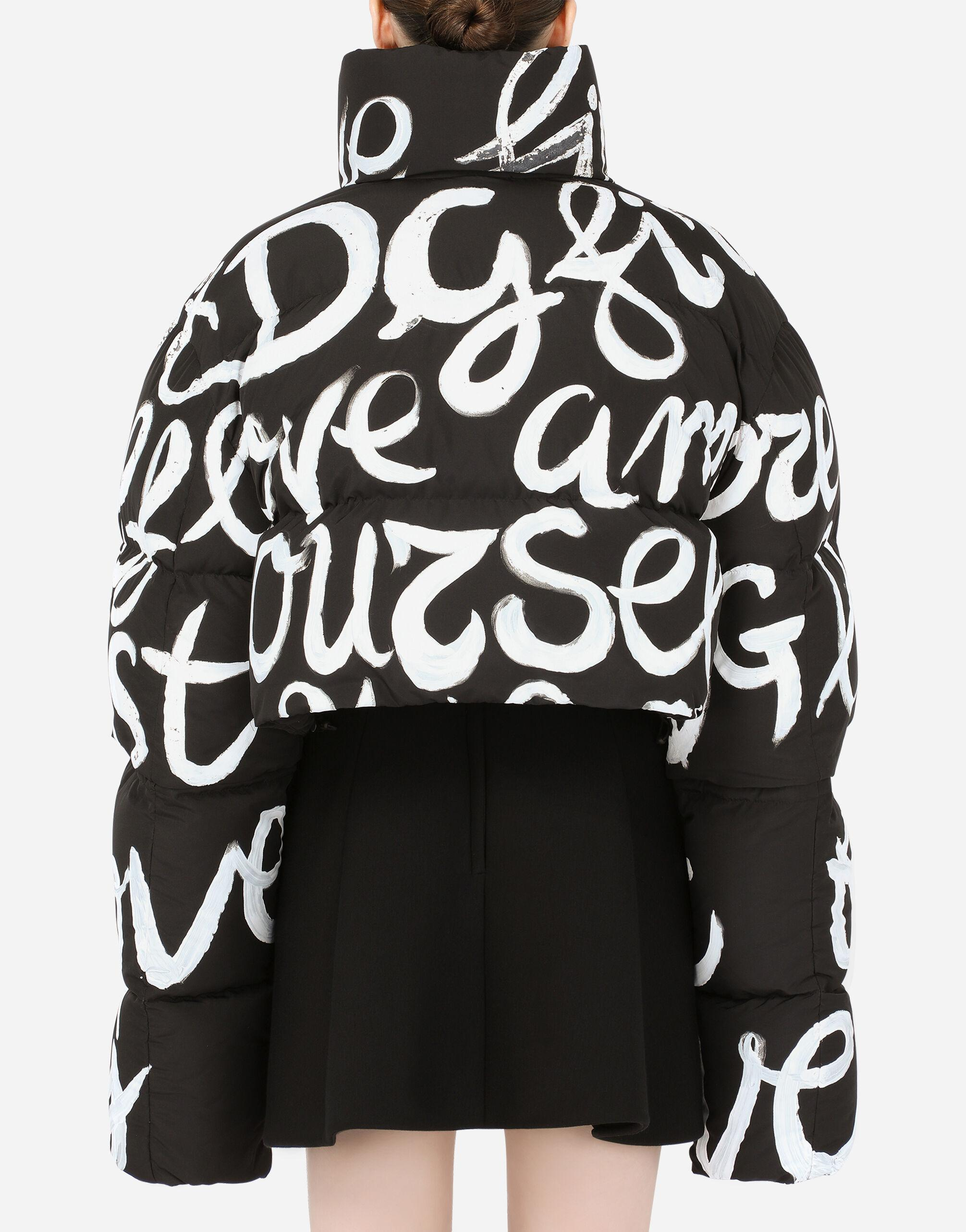Short nylon down jacket with DG love yourself print 1