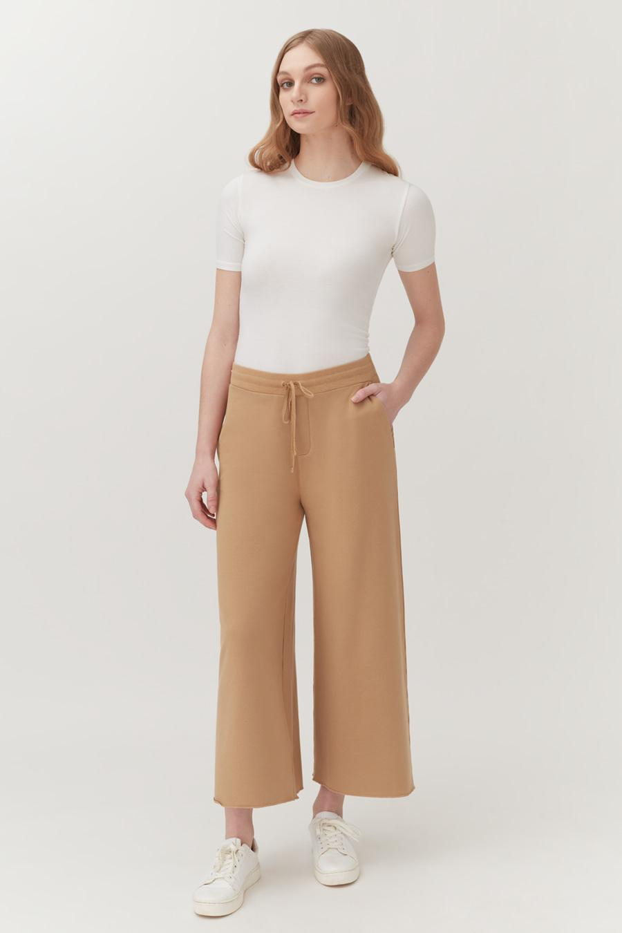 Women's French Terry Wide-Leg Cropped Pant in Camel | Size: 1