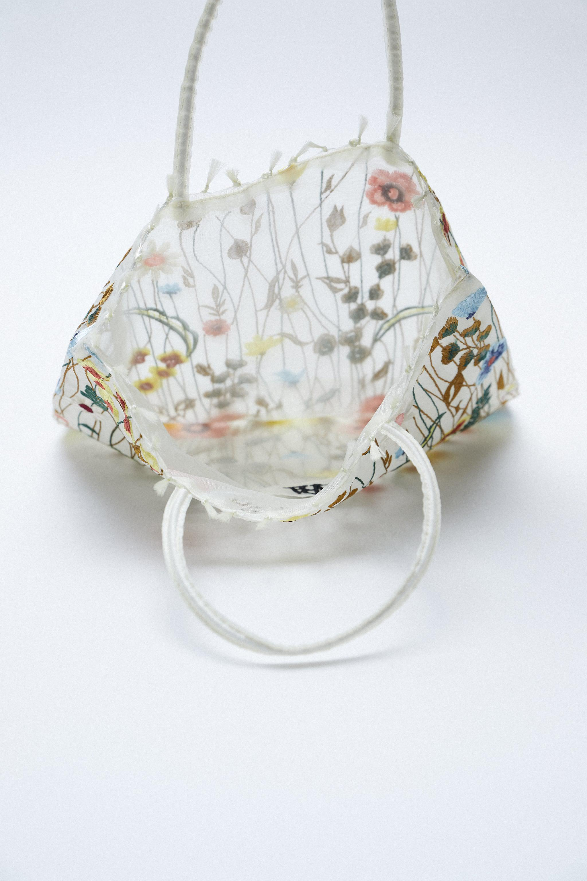TULLE FLORAL EMBROIDERY TOTE BAG 3