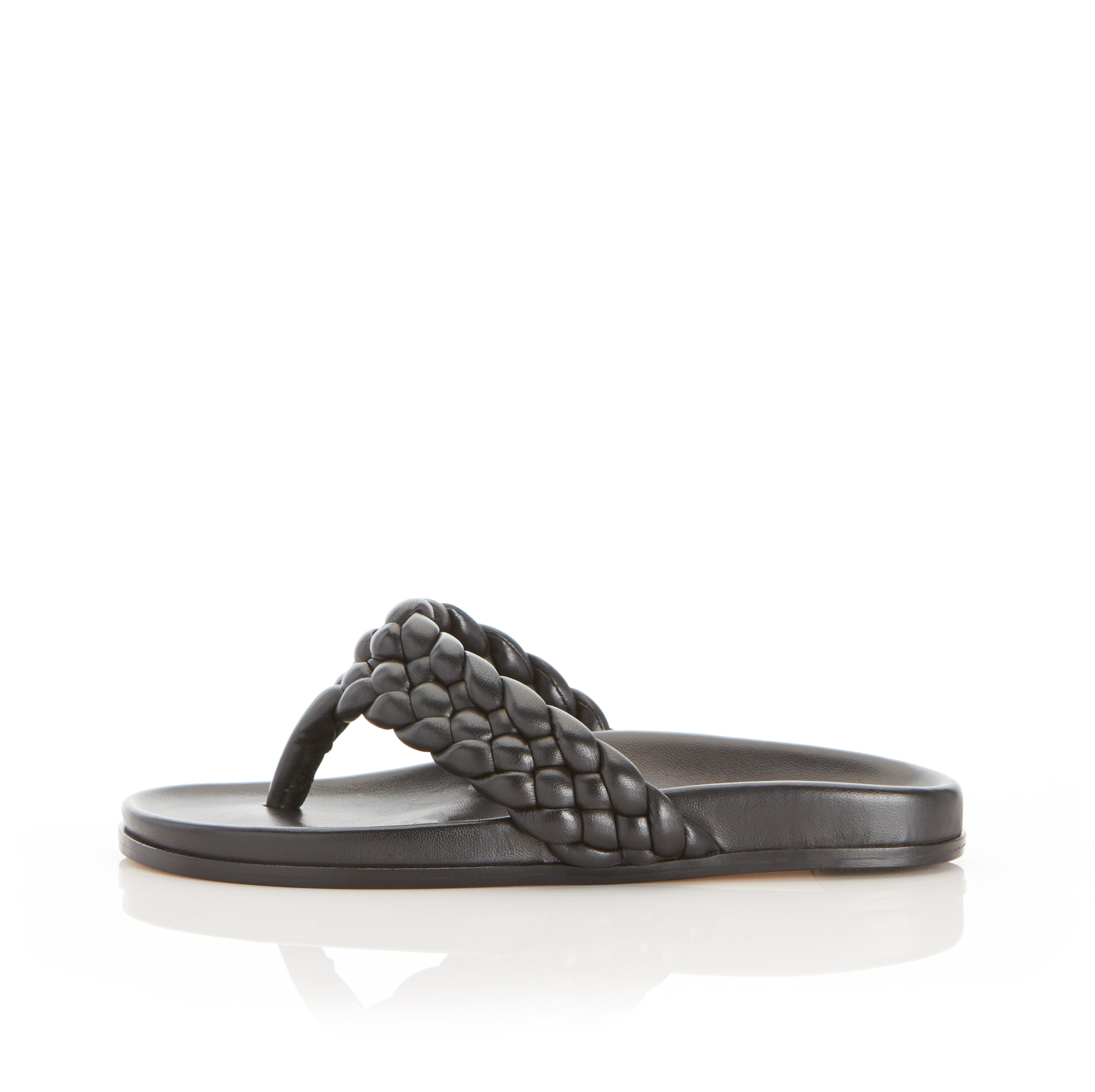 Carly | Braided Leather Thong Sandal with Contoured Footbed