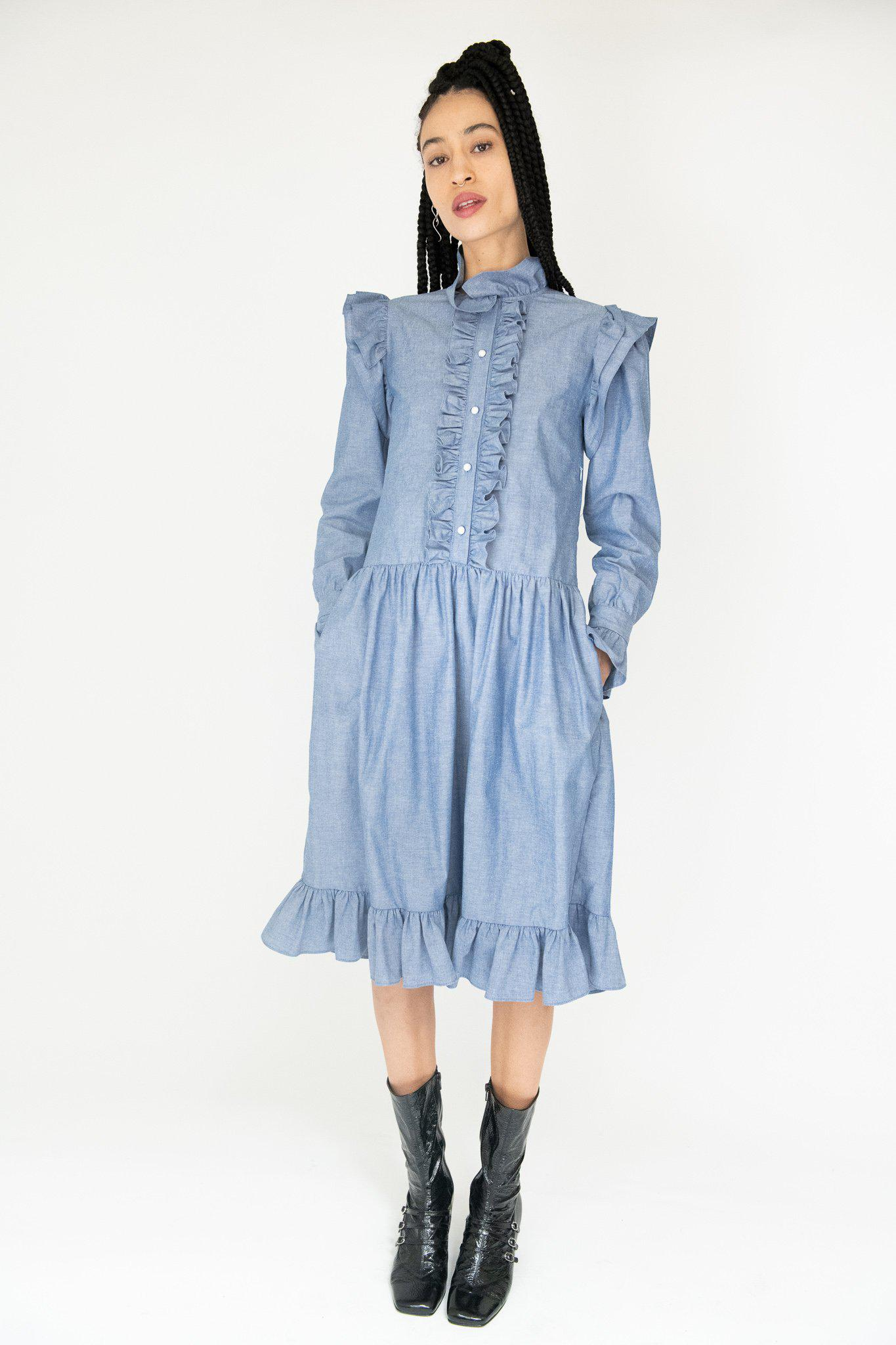 Claude Dress in Chambray
