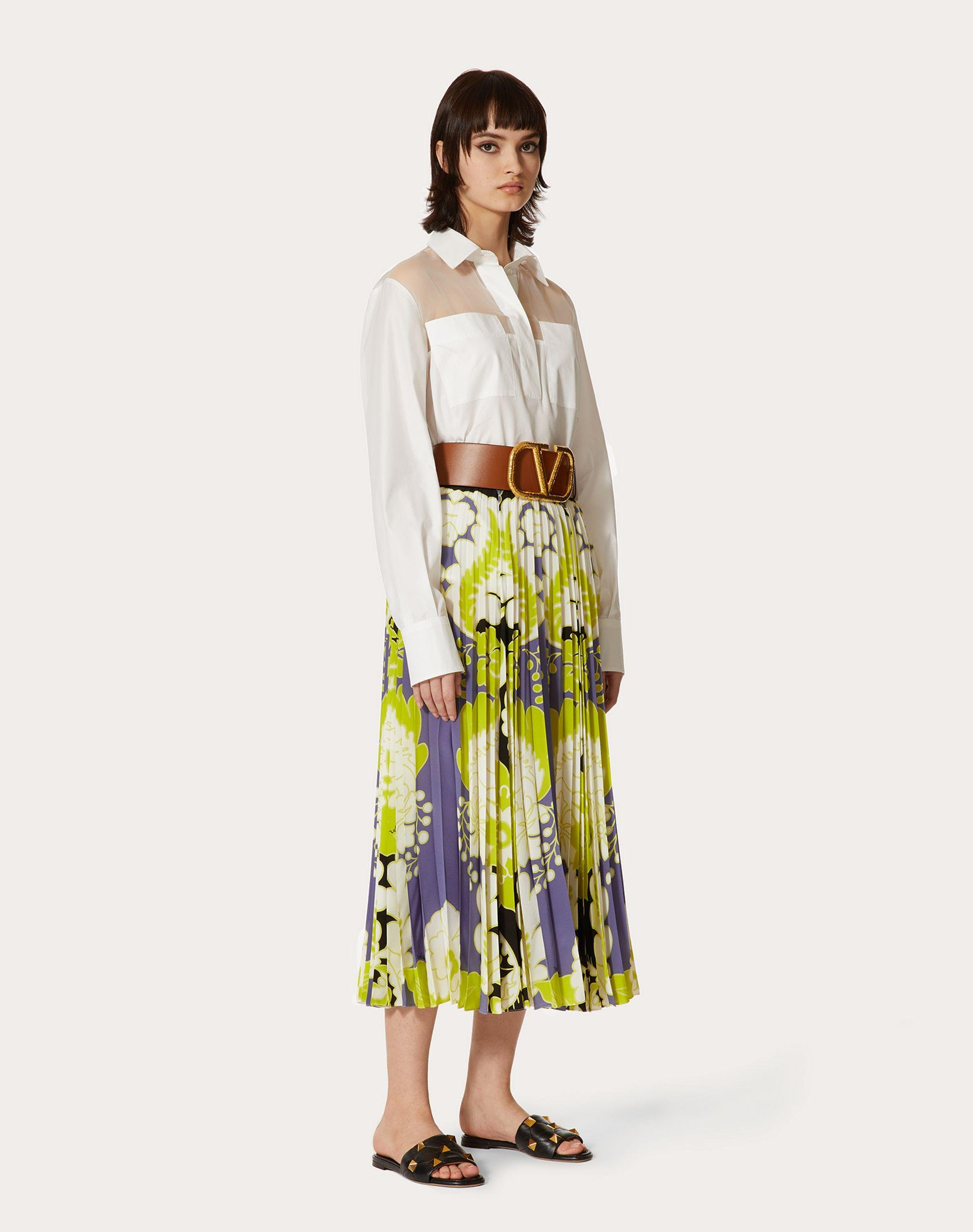 CREPE DE CHINE PLEATED SKIRT WITH PRINT