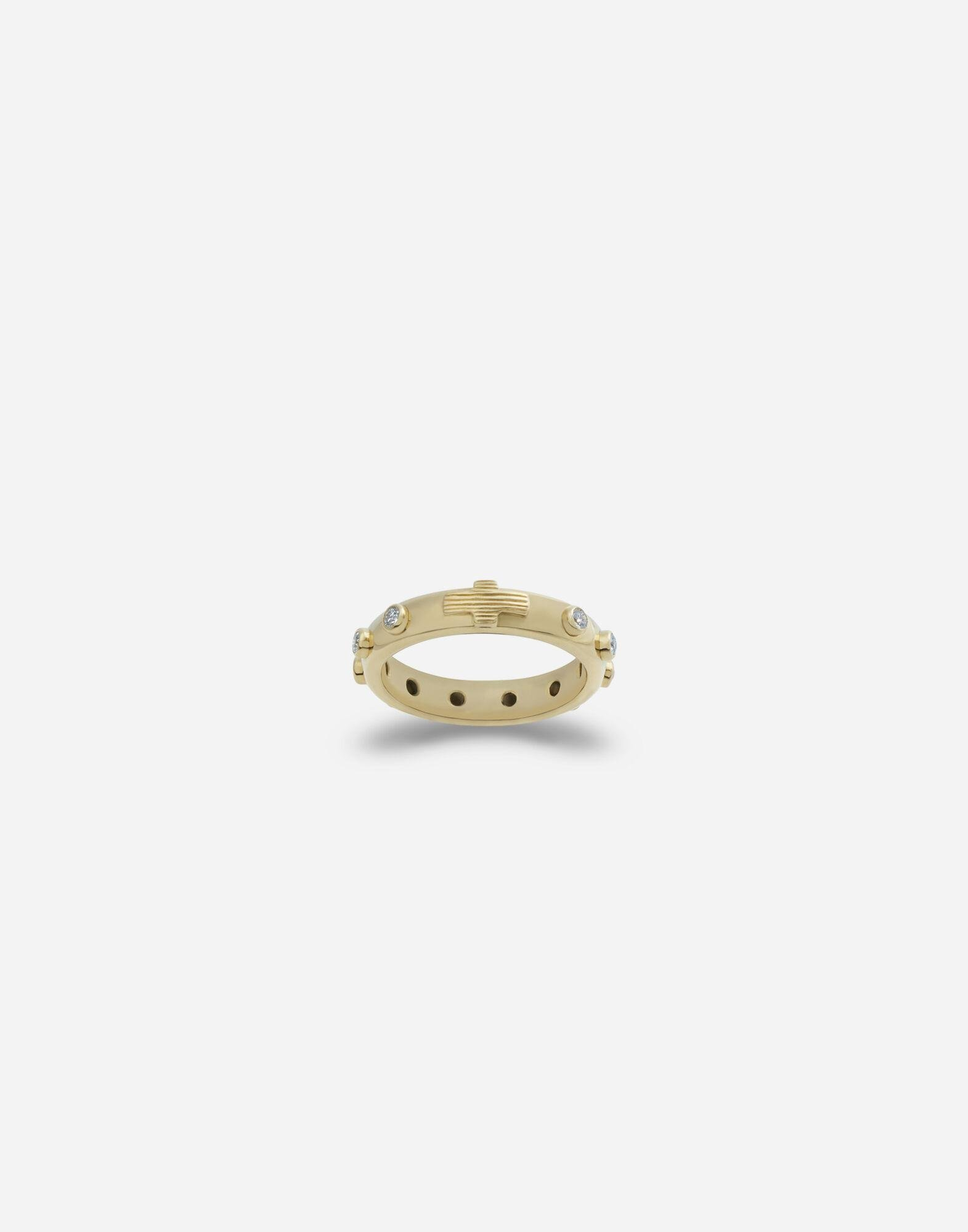 Devotion band in yellow gold with diamonds