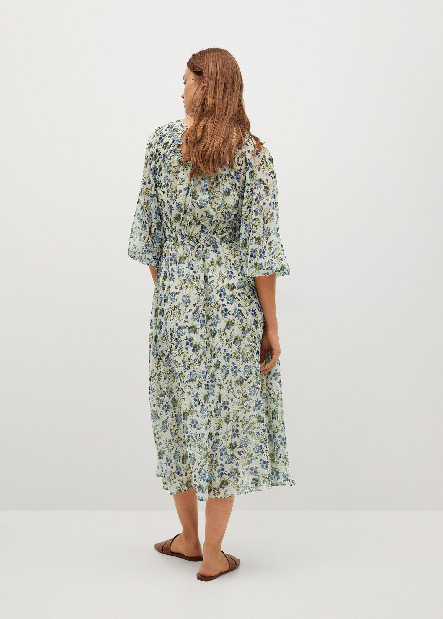 Printed dress with balloon sleeves 2