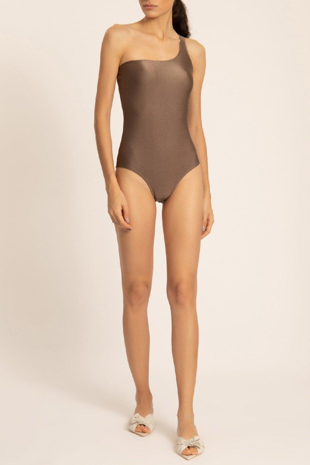 Solid One-shoulder Swimsuit