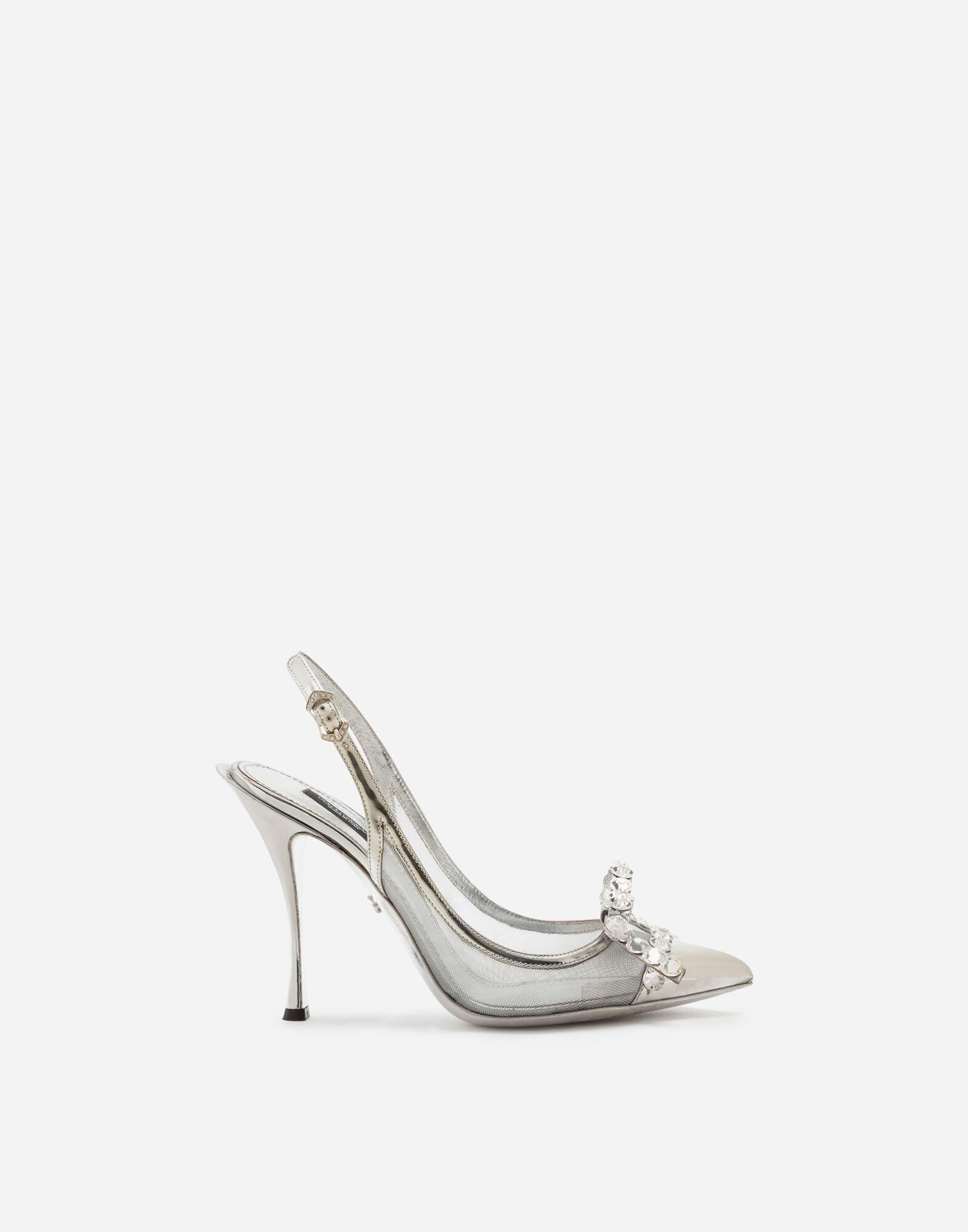 Mesh sling back with bejeweled bow