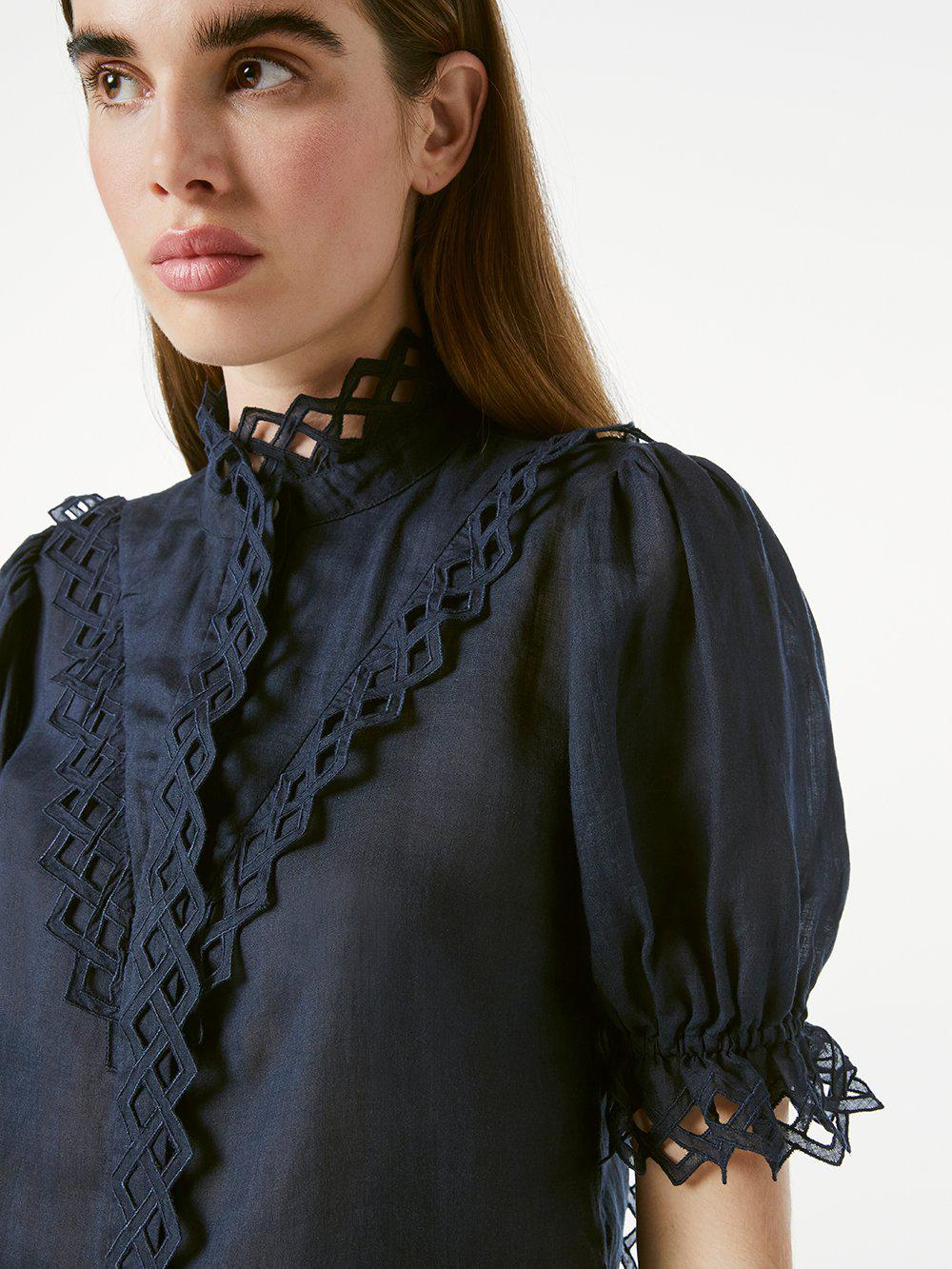 Embroidered High Neck Short Sleeve -- Navy 2