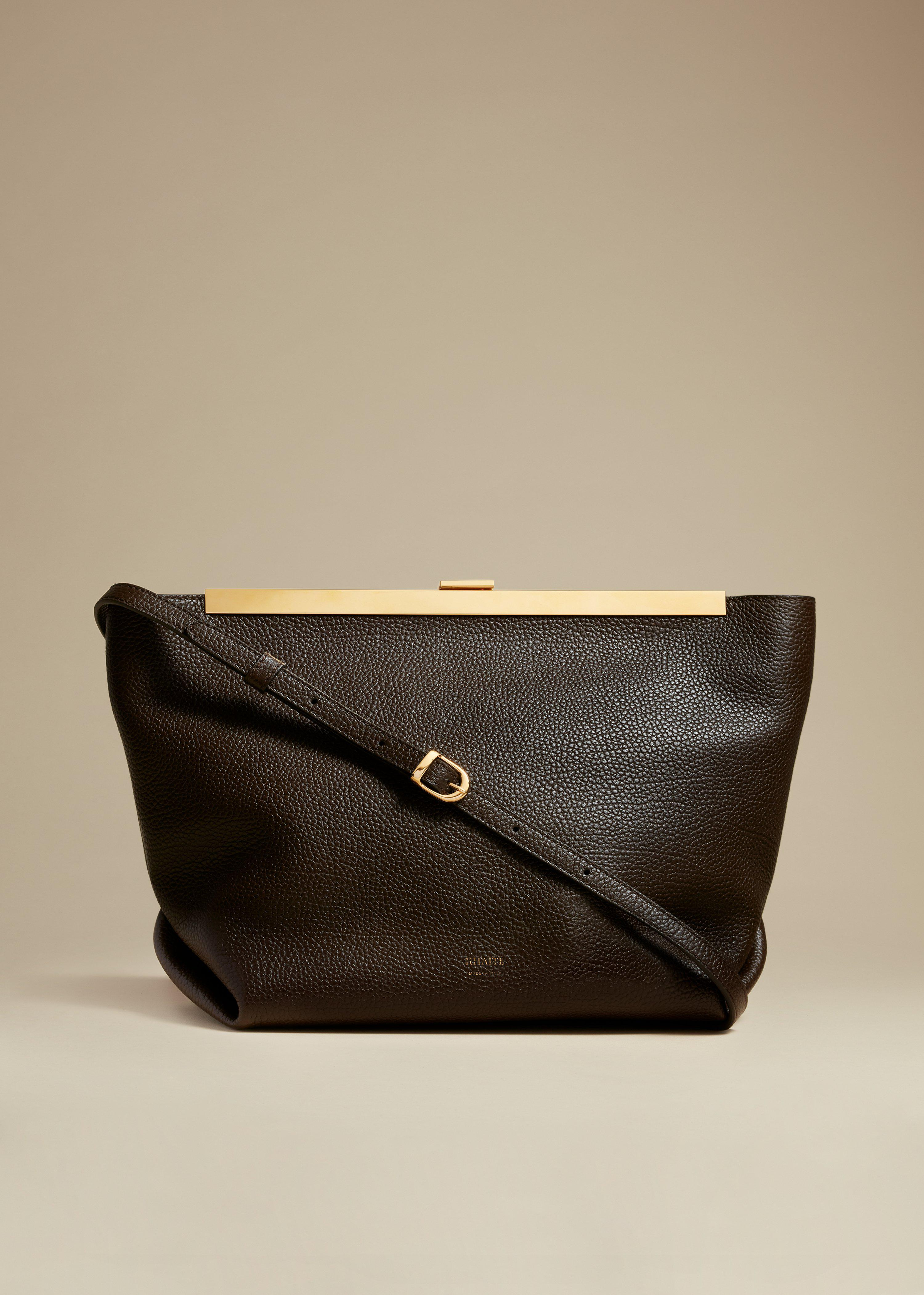 The Augusta Crossbody Bag in Chocolate Leather