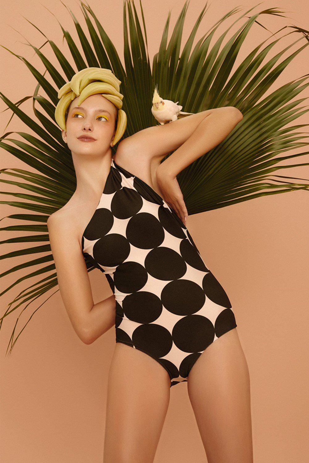 Cacao Pois Midi One Shoulder Swimsuit with Knot