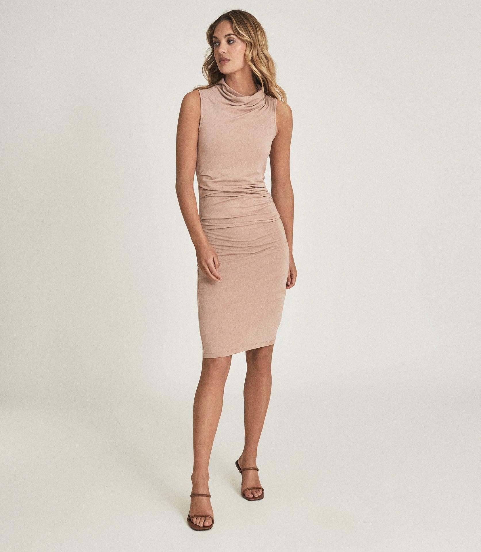 TORA - RUCHED WOOL-JERSEY BODYCON DRESS