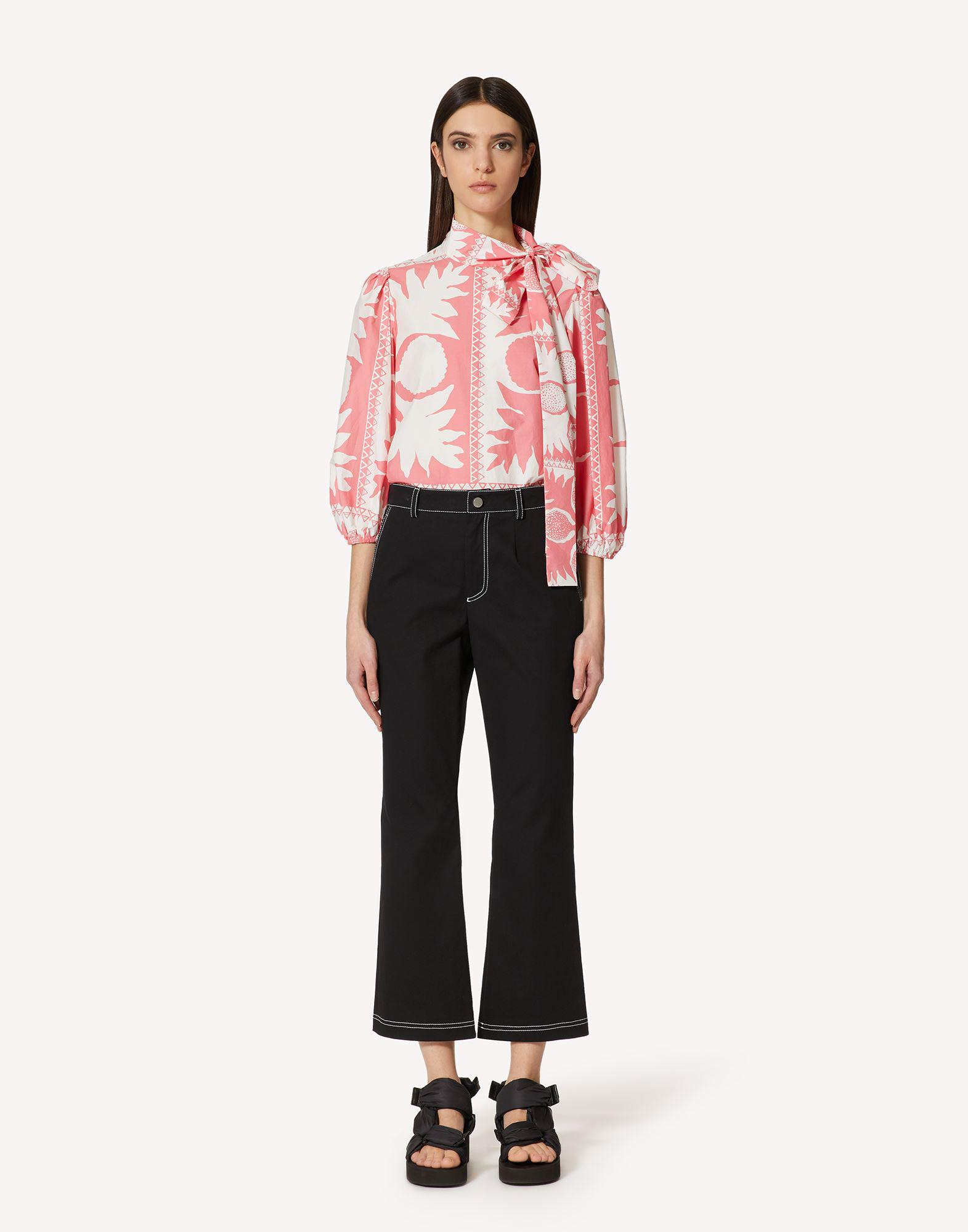 STRETCH GABARDINE PANTS WITH CONTRASTING STITCHING DETAIL