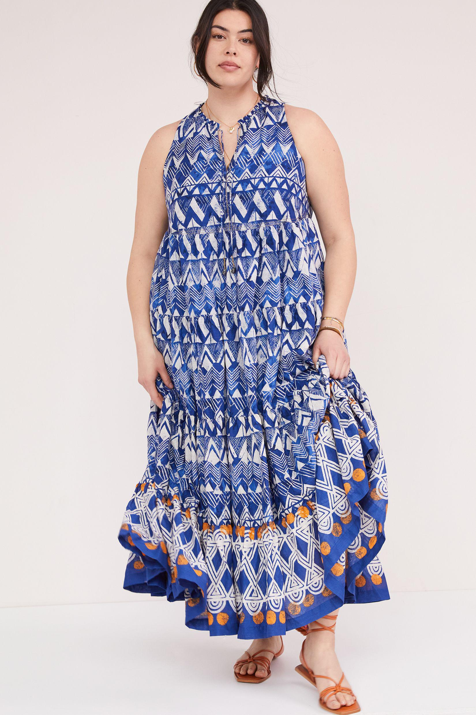 Tiered Abstract Maxi Dress 7