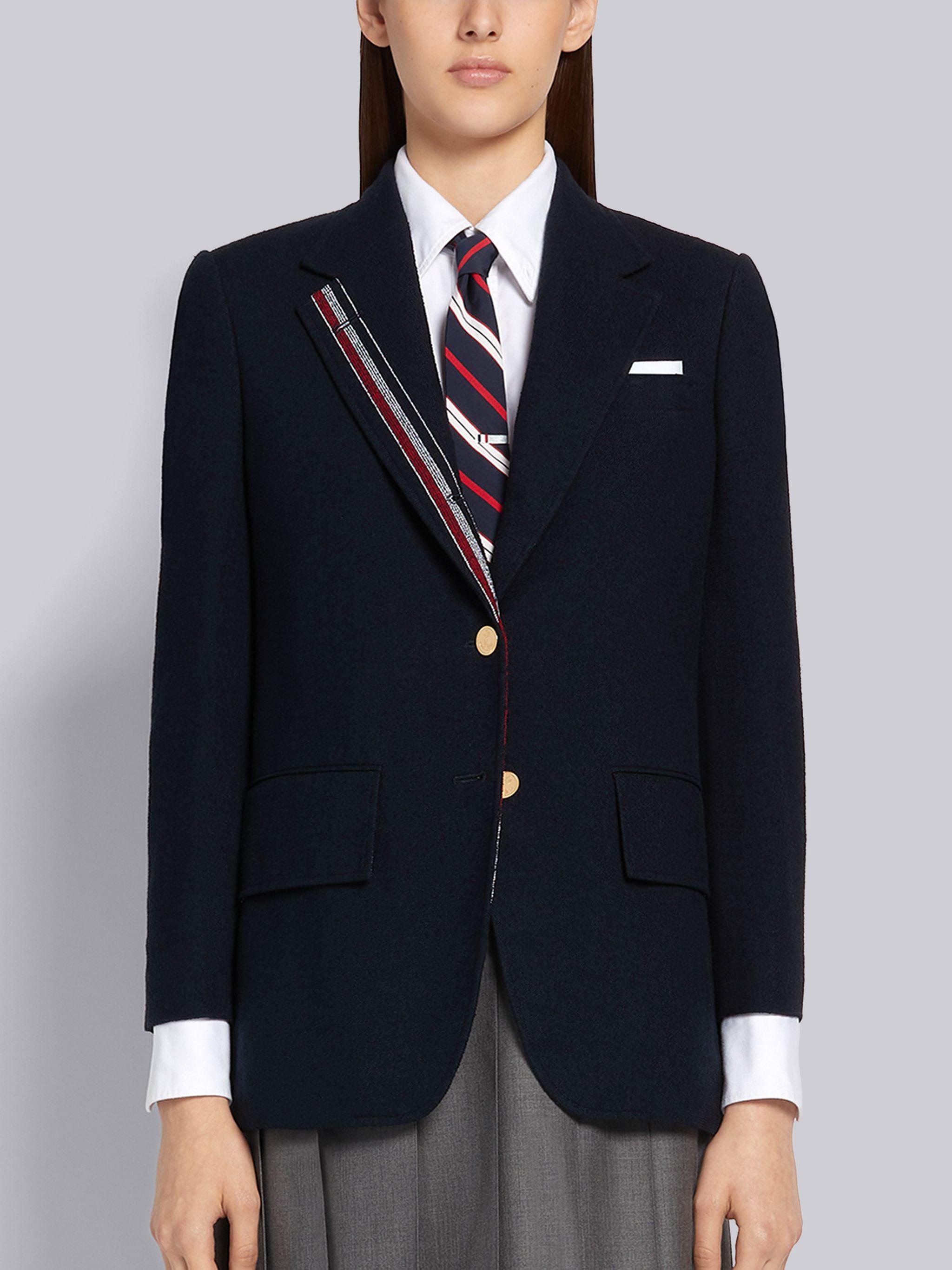 Navy Cotton Boucle Suiting Engineered Stripe Wide Lapel Jacket