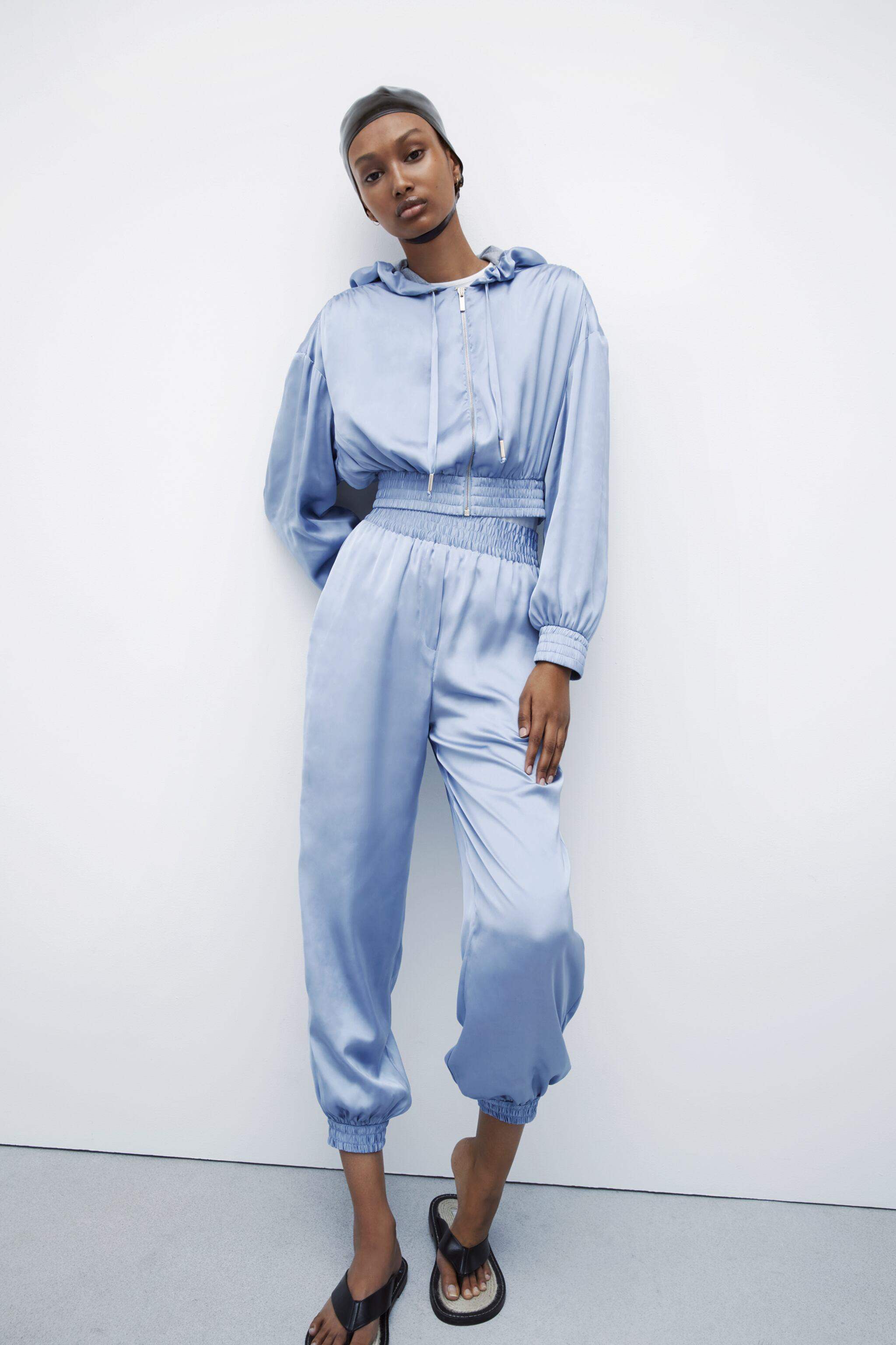 SATIN EFFECT PANTS WITH CUFFS