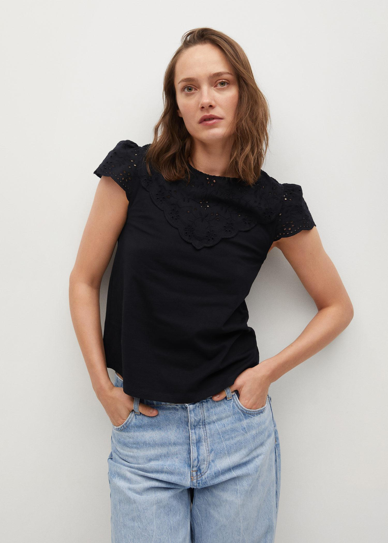 Cotton T-shirt broderie anglaise