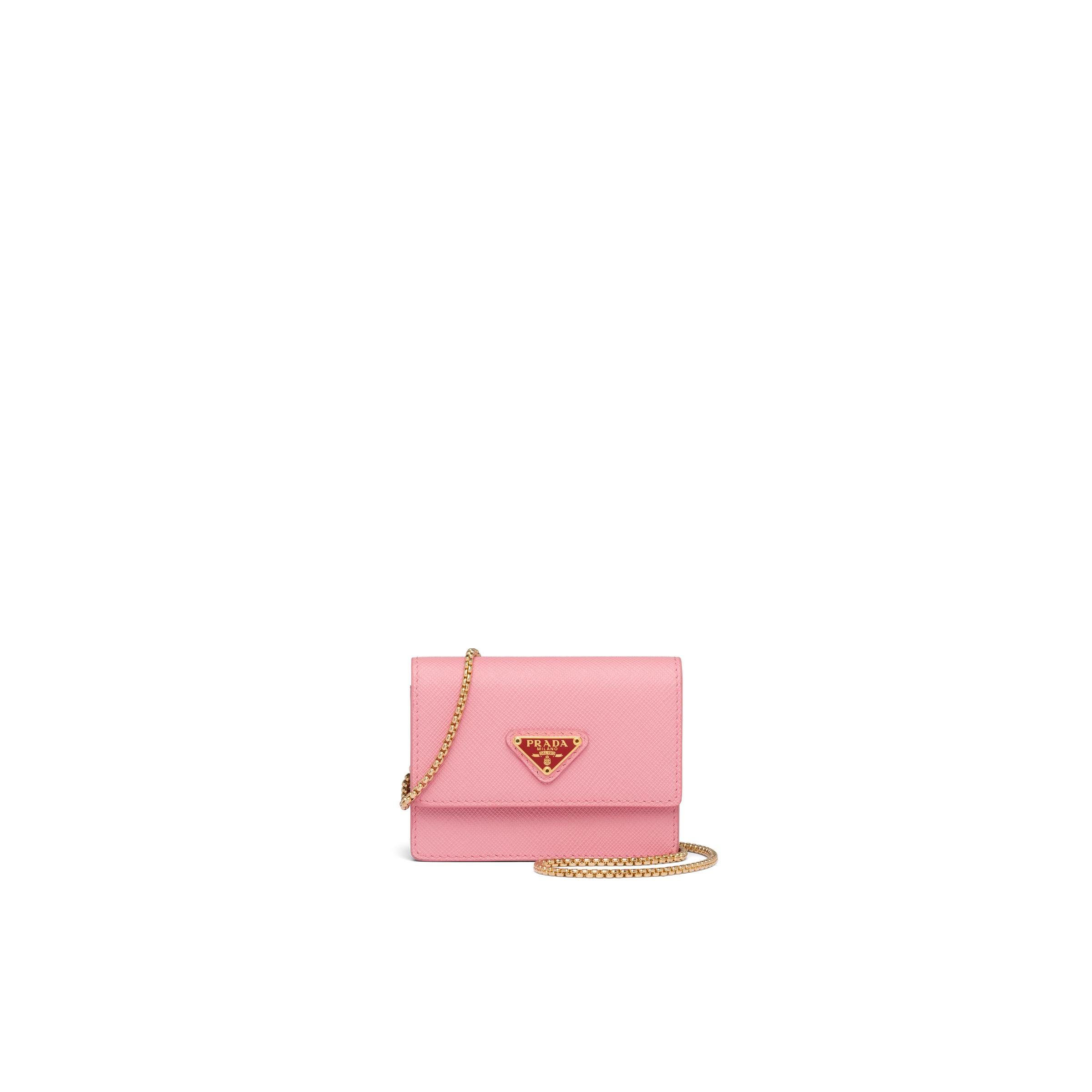 Saffiano Leather Card Holder With Chain Women Petal Pink/fiery Red 0