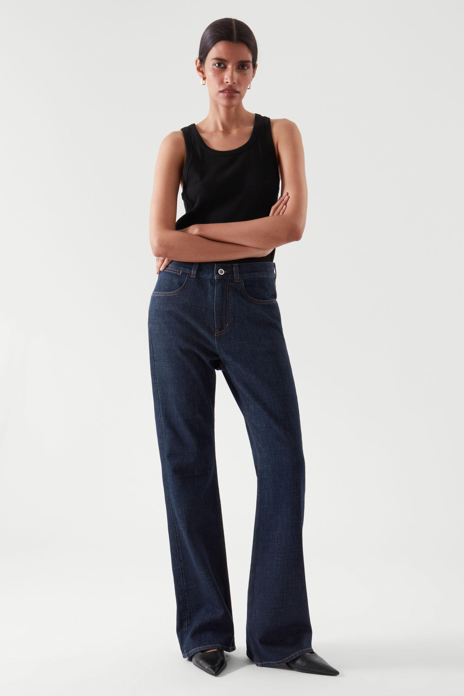 FLARED RECYCLED COTTON DENIM PANTS 0