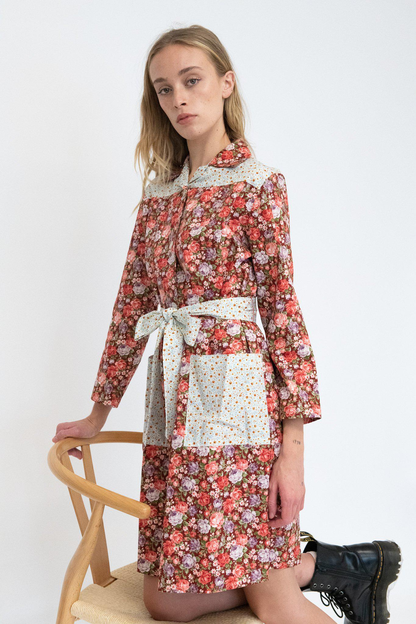 Long Sleeve Housedress in Cabernet Rose and Blue Floral 1