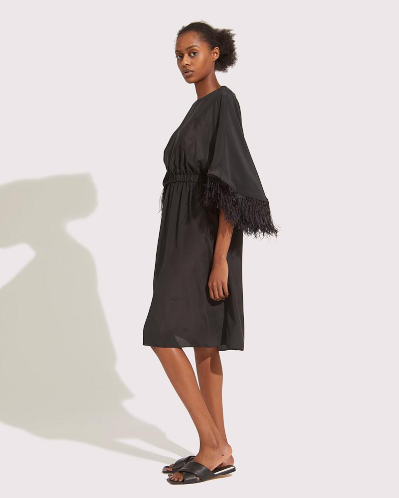 Midi dress with feathers 1