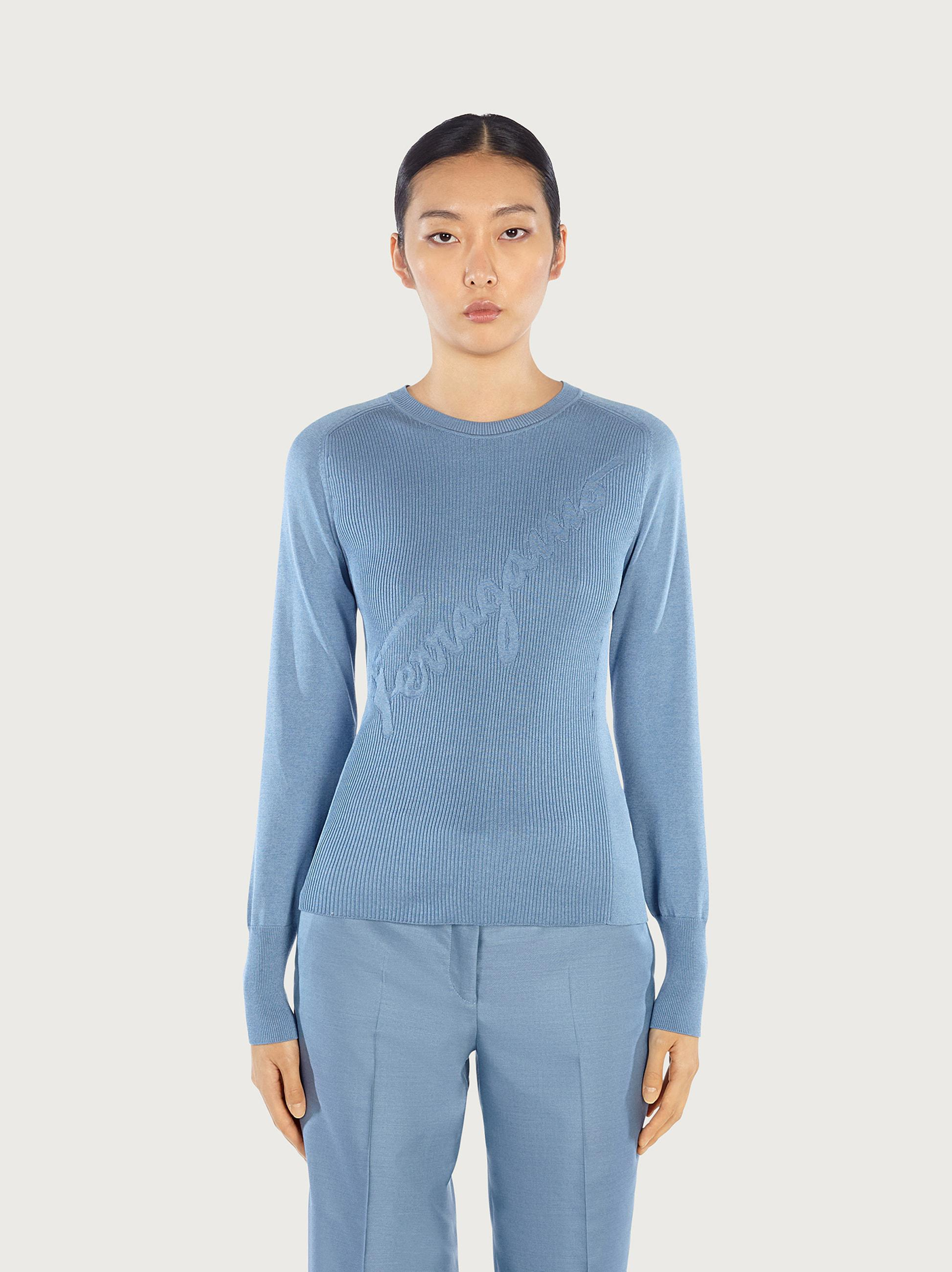 ROUND NECK SWEATER WITH INLAY
