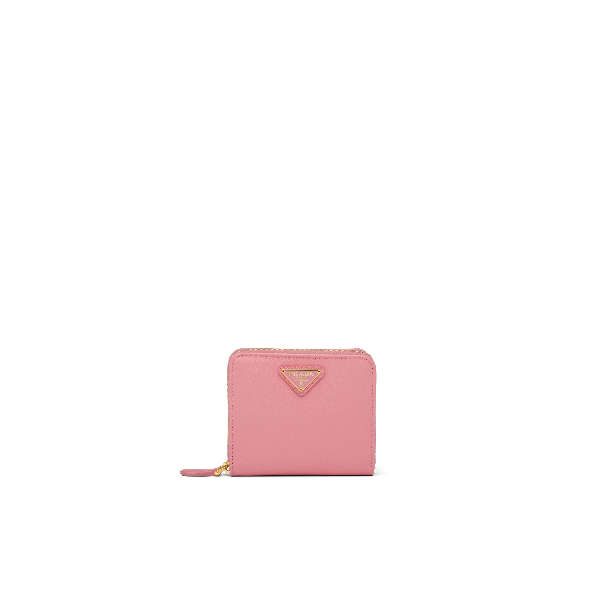 Small Saffiano Leather Wallet Women Petal Pink