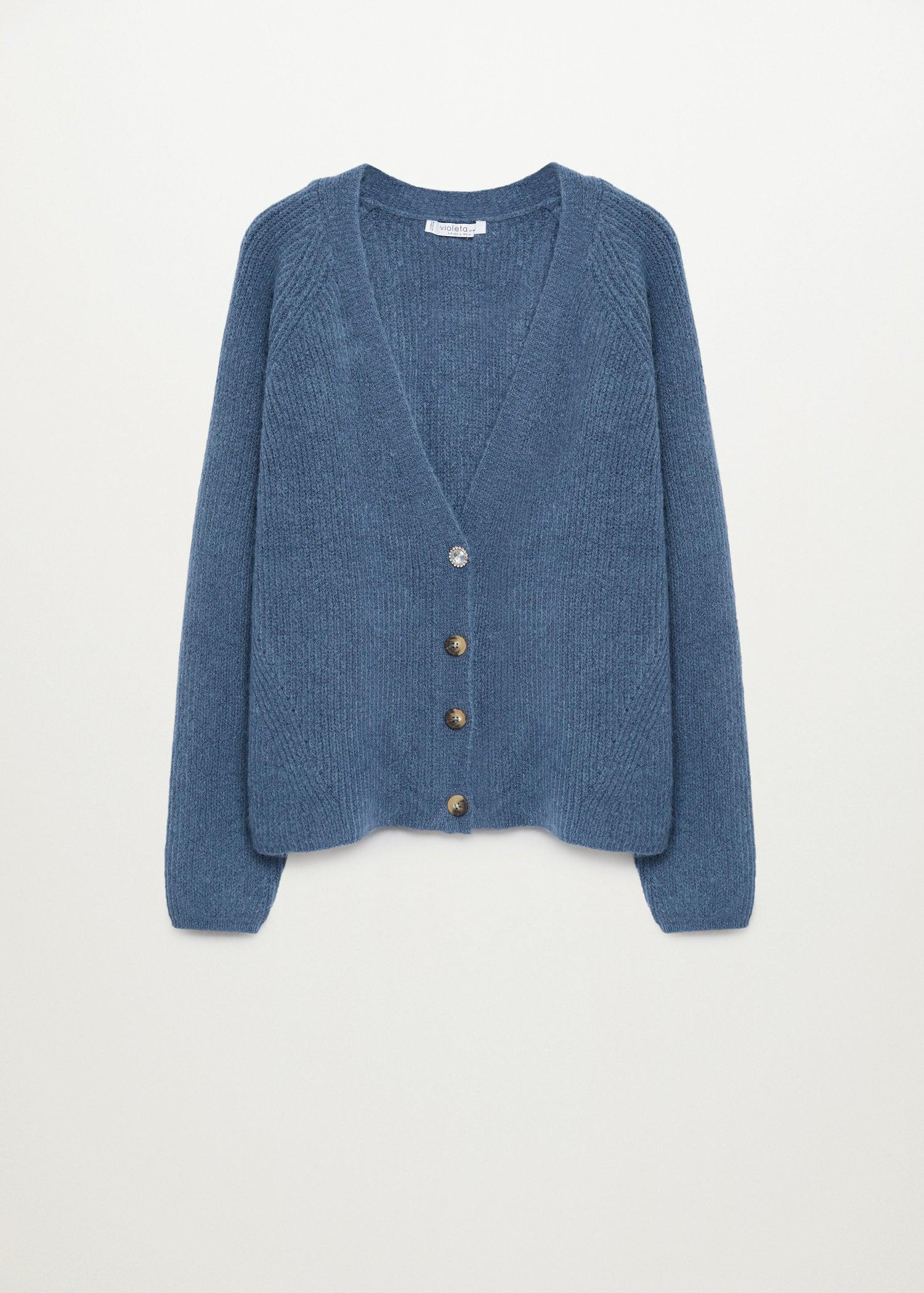 Knitted cardigan with jewel button 6
